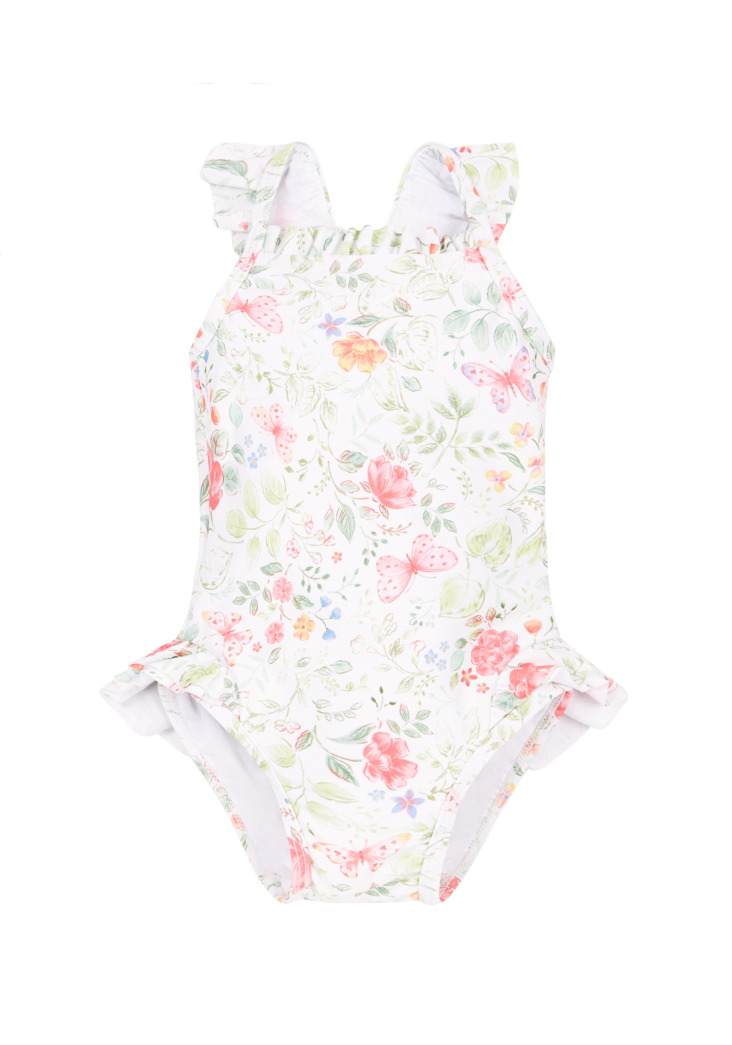 Mothercare | White Girls Vintage Floral Swimsuit