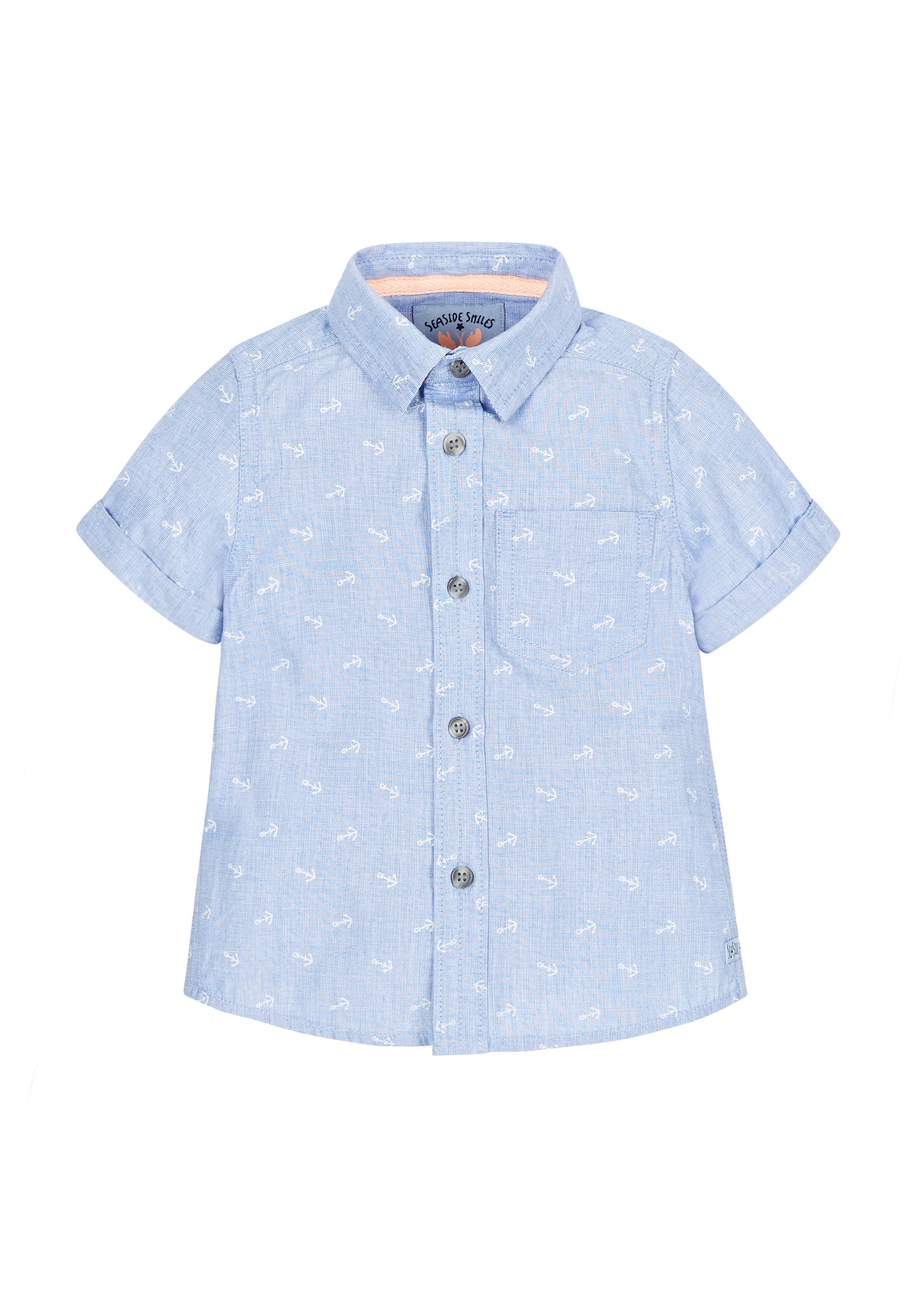 Mothercare | Boys Half Sleeves Anchor Print Shirt - Blue