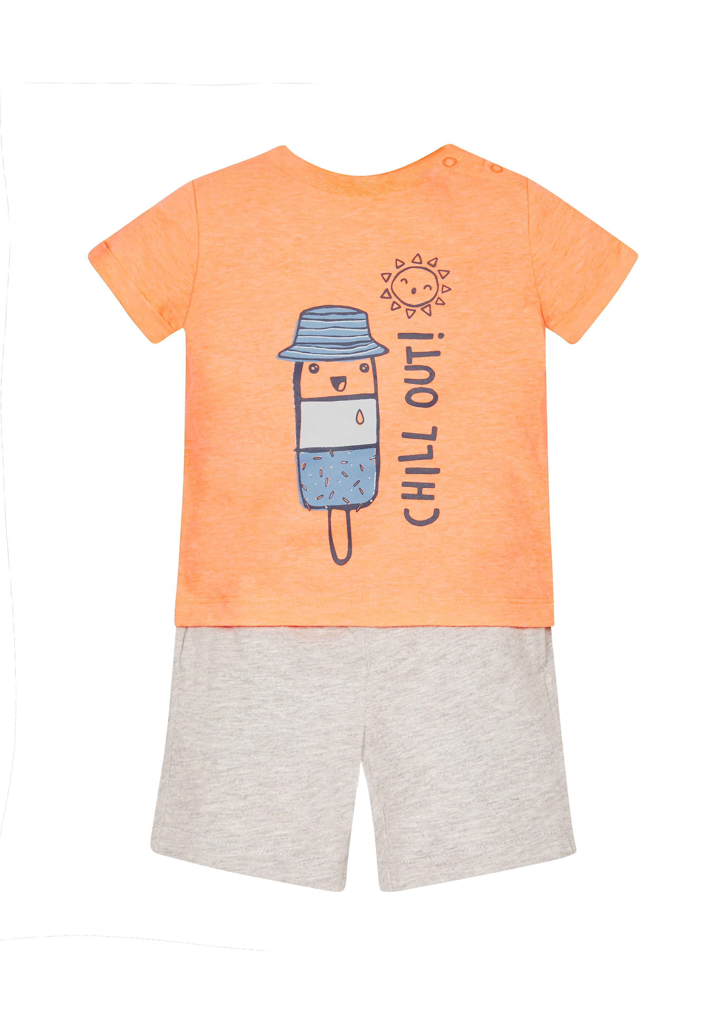 Mothercare | Boys 'Chill Out' Tee And Shorts Set - Orange