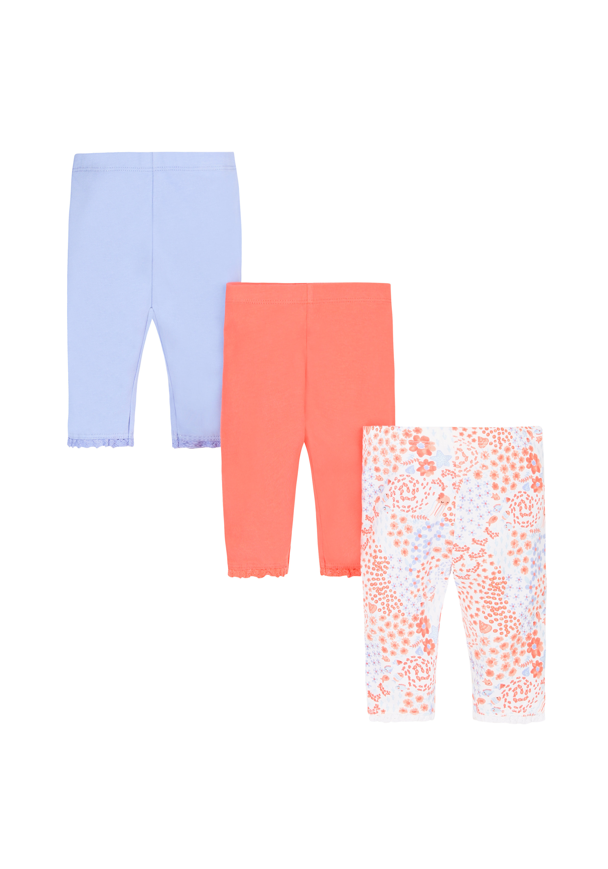 Mothercare | Girls Sea Cropped Leggings - Pack Of 3