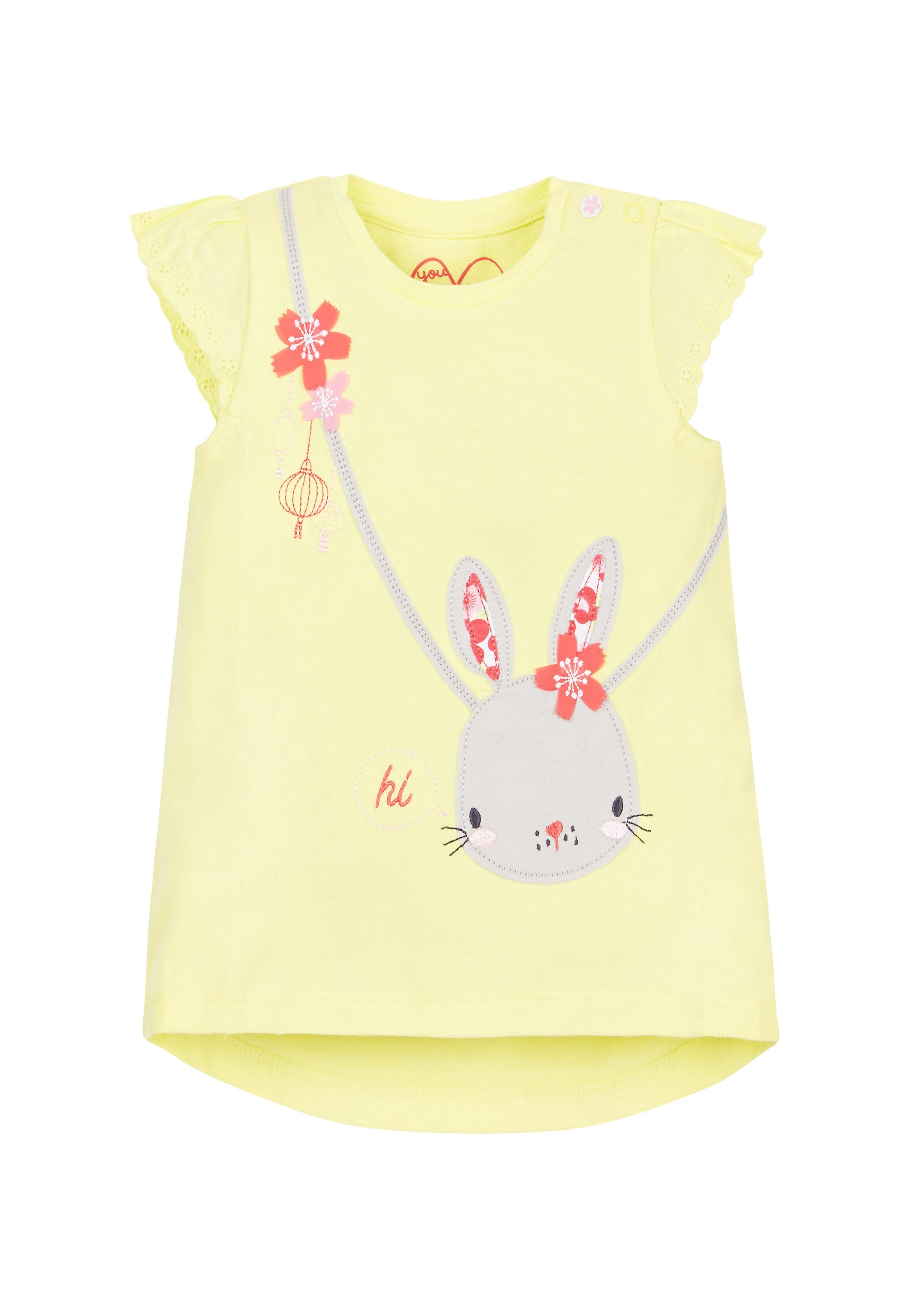 Mothercare | Girls Bunny Bag T-Shirt  - Yellow
