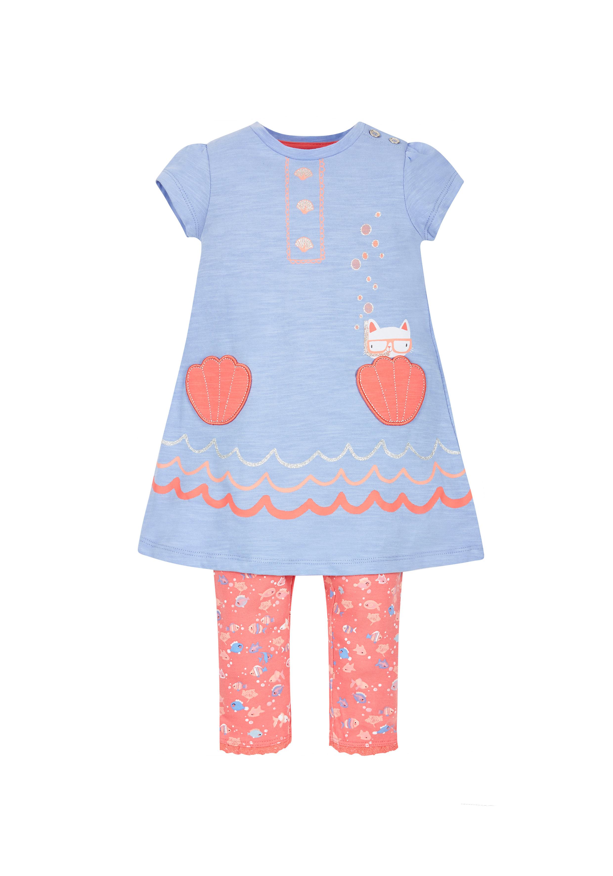 Mothercare | Girls Shell Pockets Dress And Leggings Set - Blue