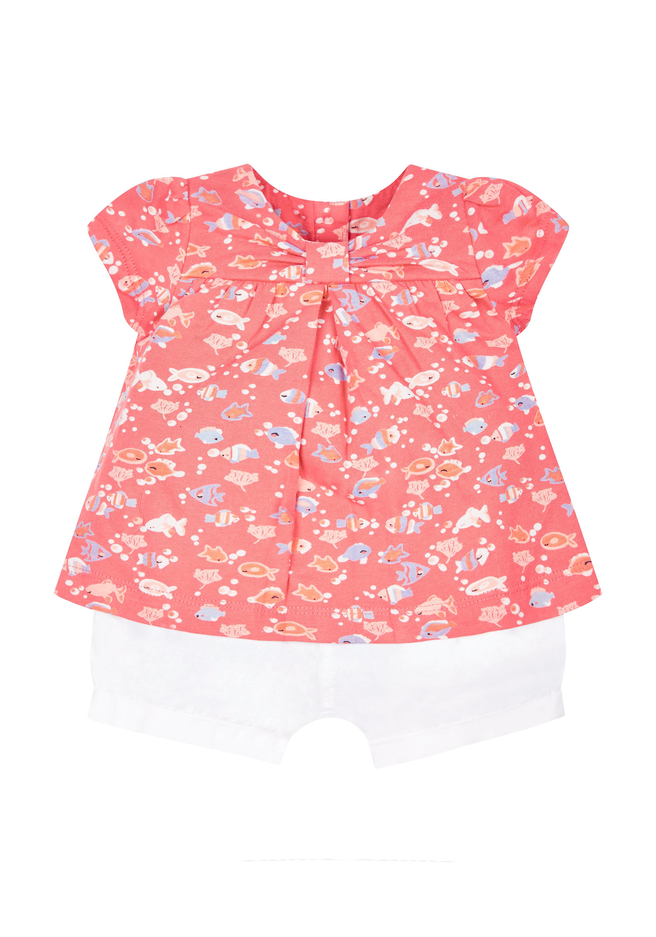 Mothercare | Girls Fish Blouse And Shorts Set - Coral