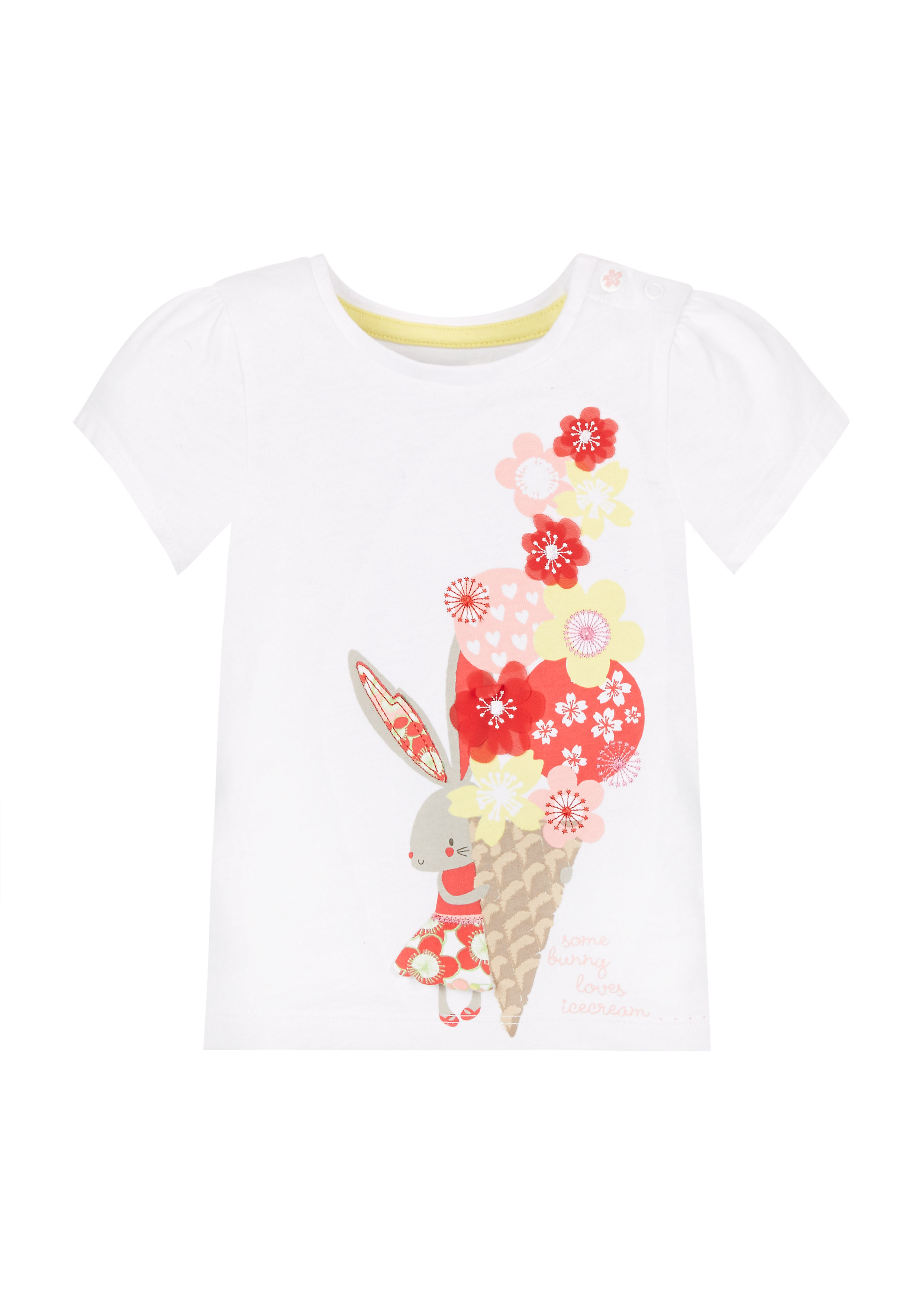 Mothercare | Girls Bunny Ice T-Shirt - White