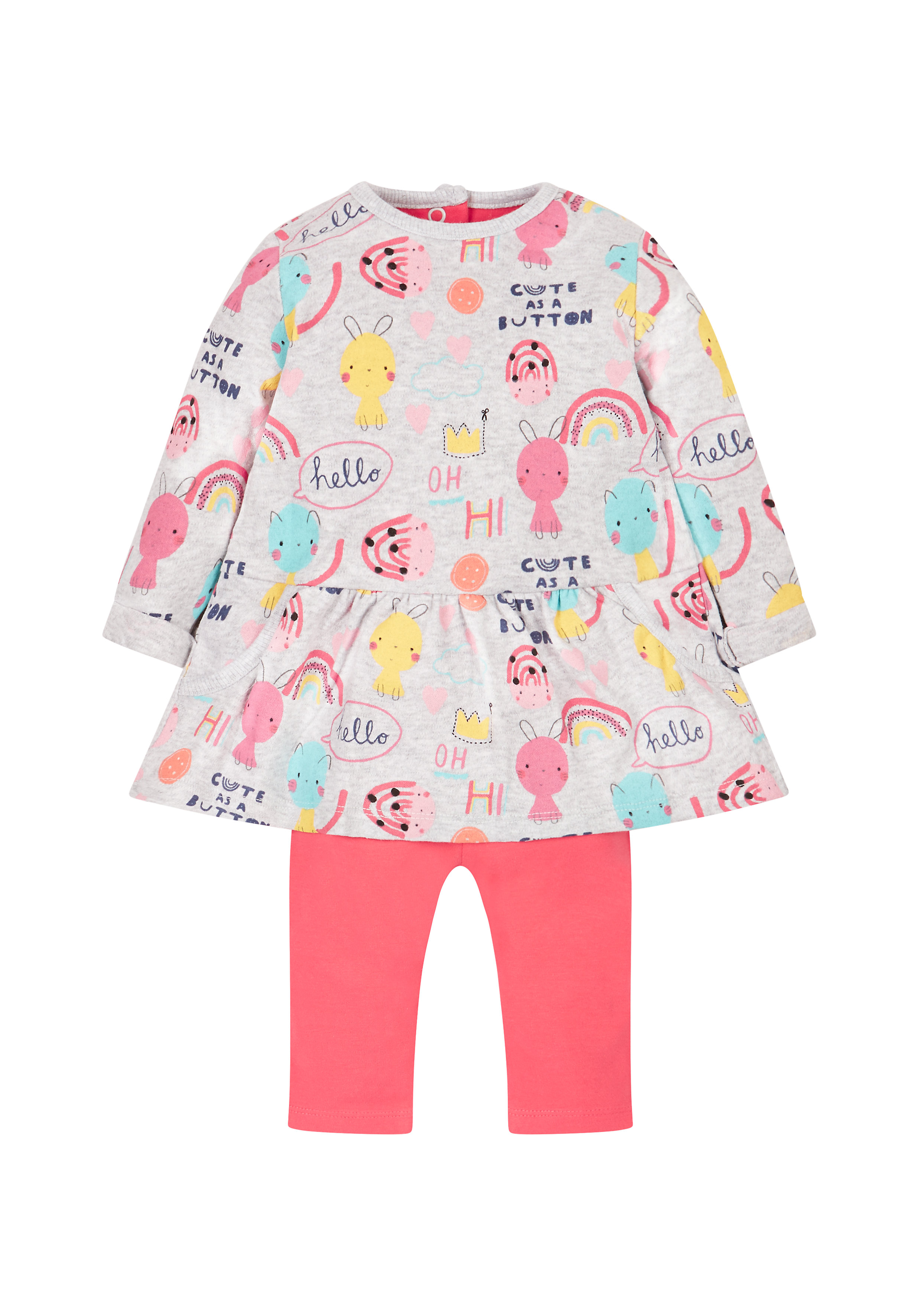 Mothercare | Cute As A Button Dress And Leggings Set