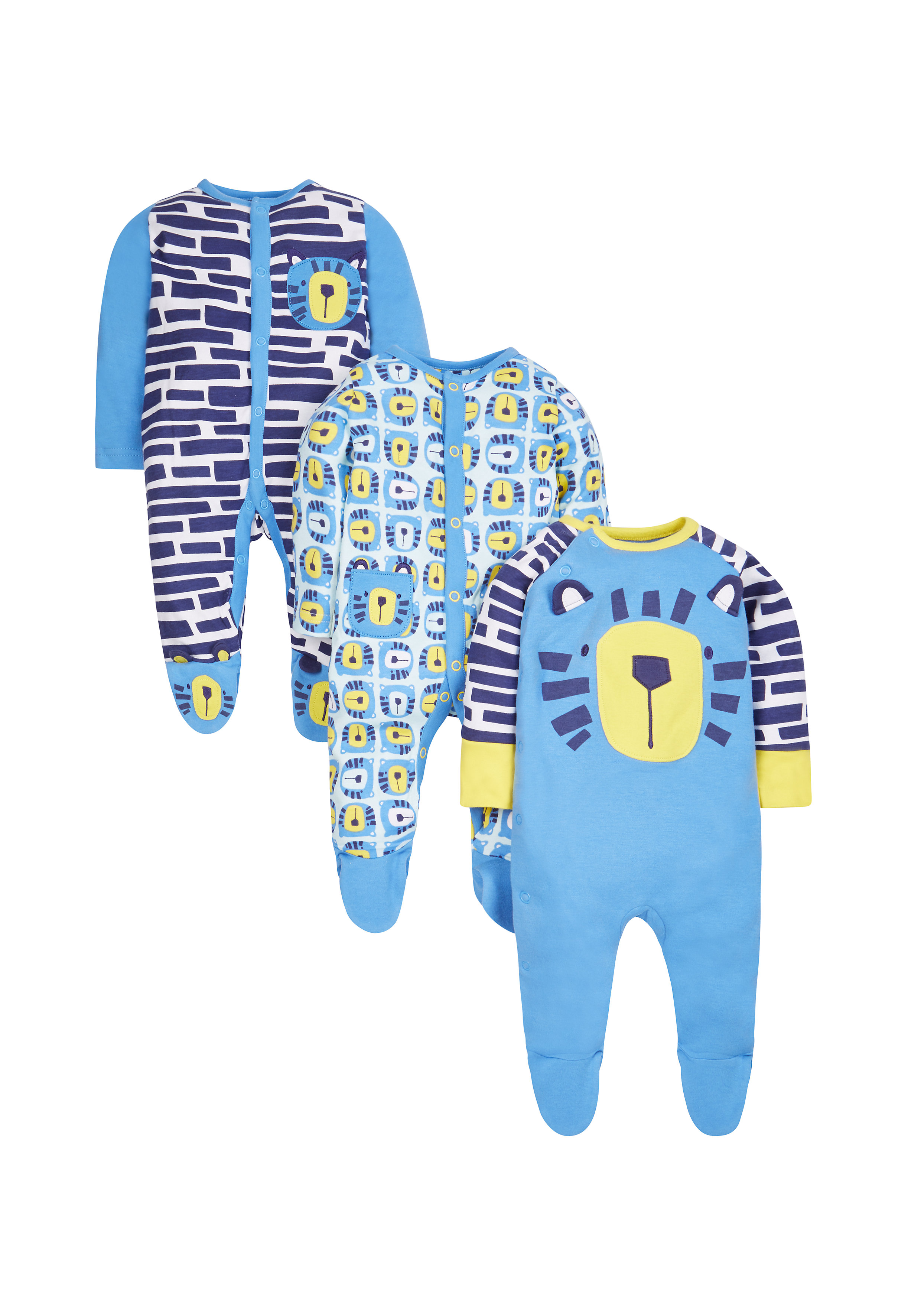 Mothercare   Boys Full Sleeves Sleepsuit 3D Tiger Details - Pack Of 3 - Blue