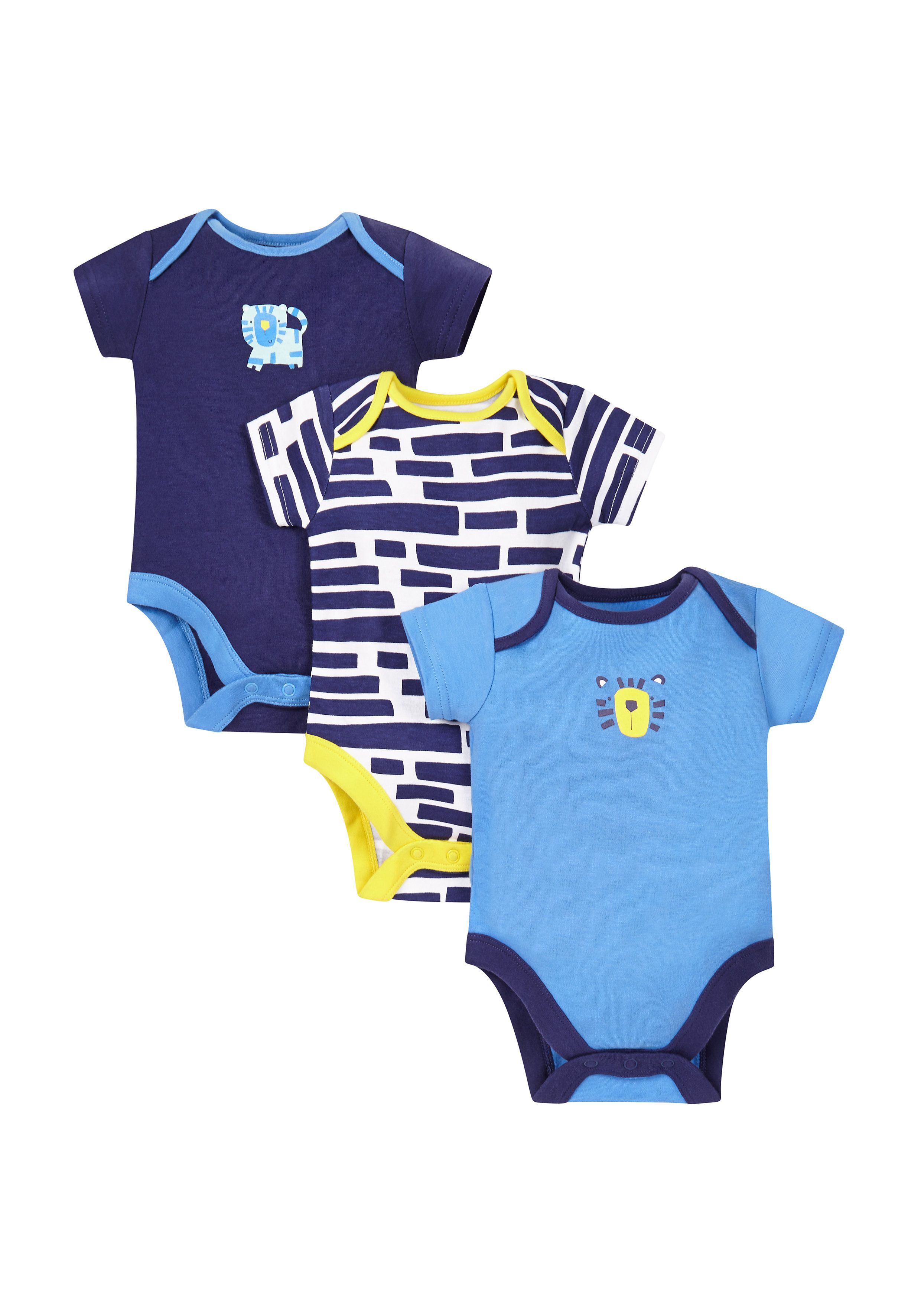Mothercare | Boys Novelty Tiger Bodysuits - Pack Of 3 - Blue
