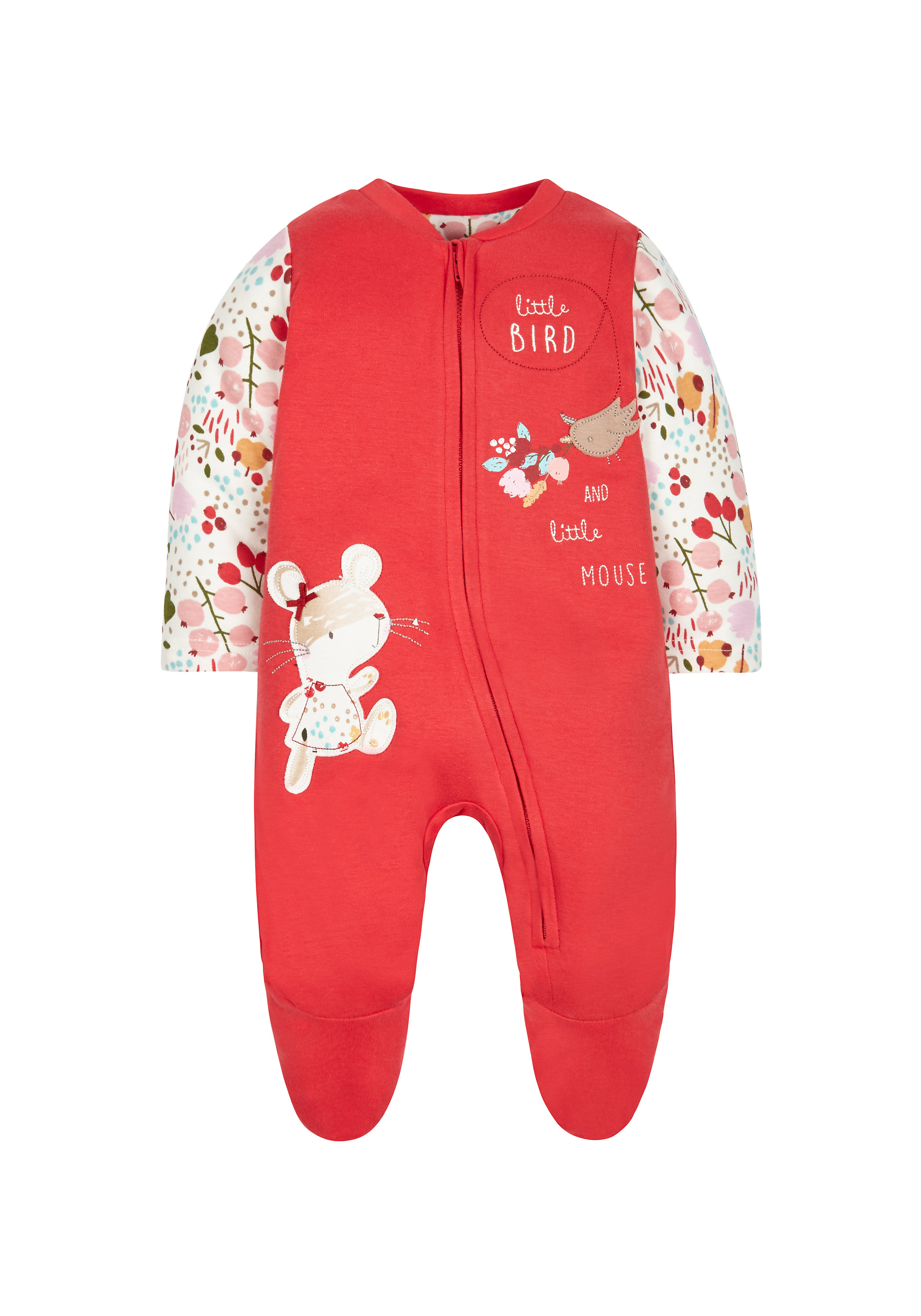 Mothercare | Girls Full Sleeves Snowsuit Birds Patchwork - Red