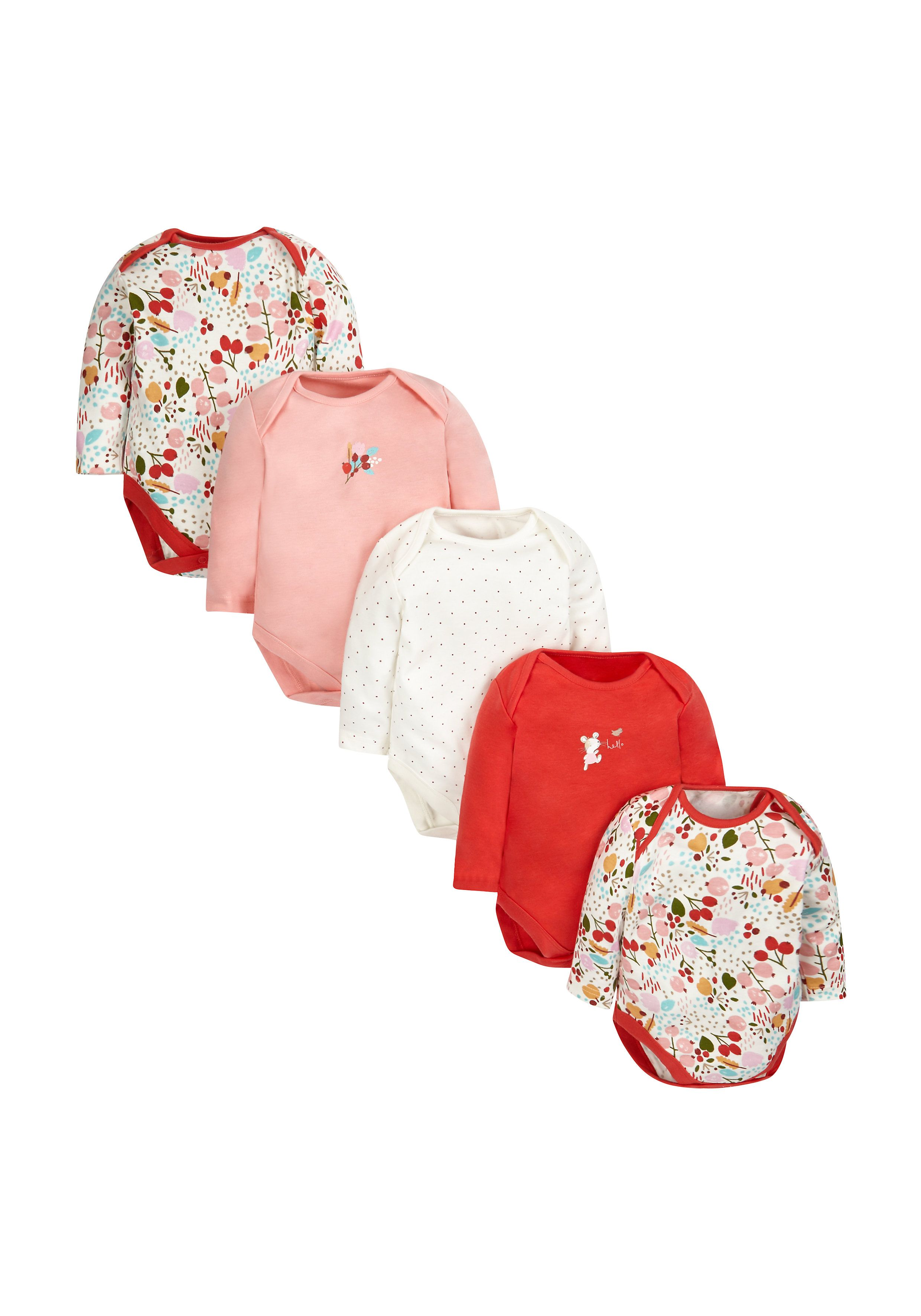 Mothercare | Autumn Leaves Bodysuits - 5 Pack