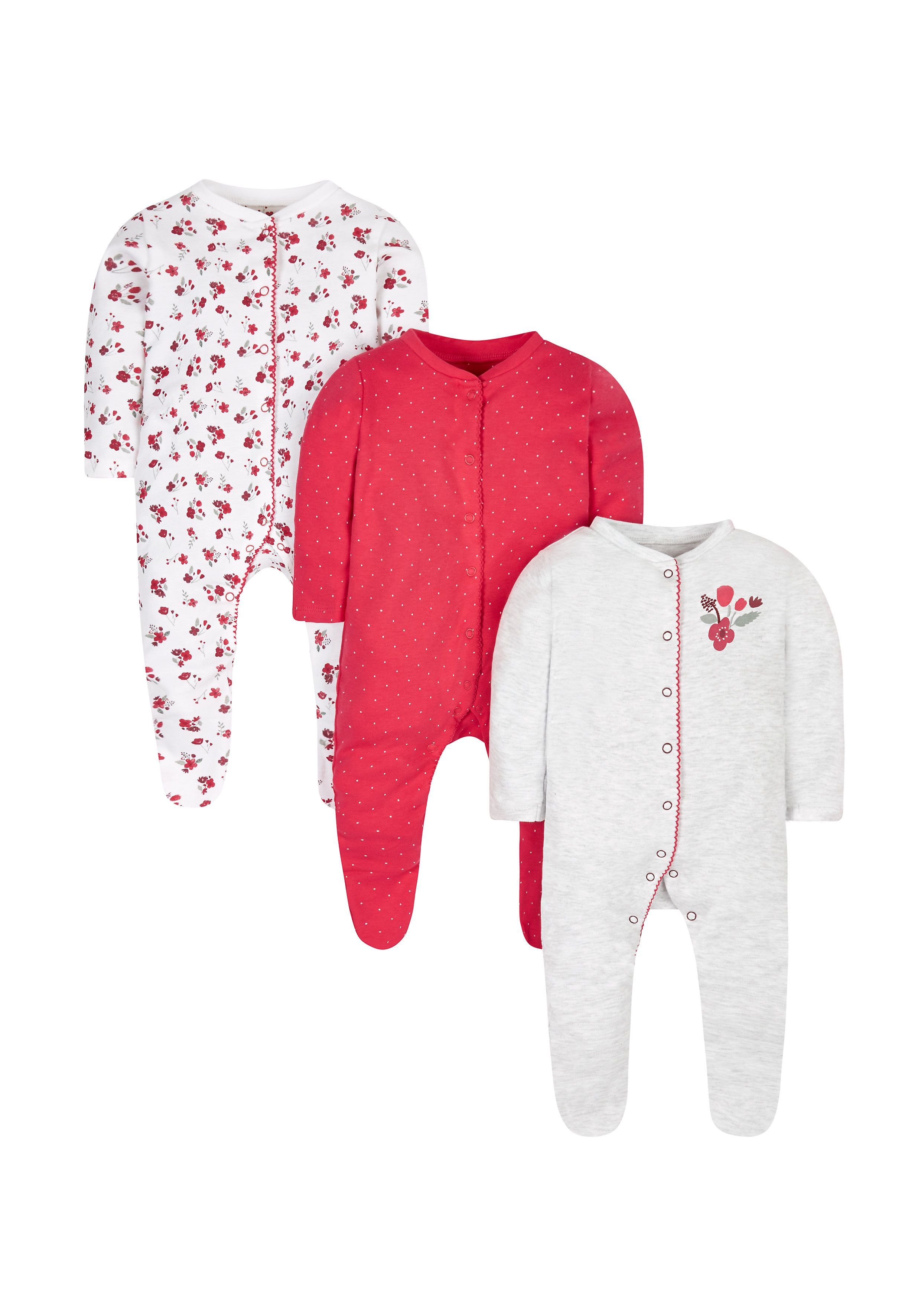 Mothercare | Floral And Bunny Sleepsuits - 3 Pack