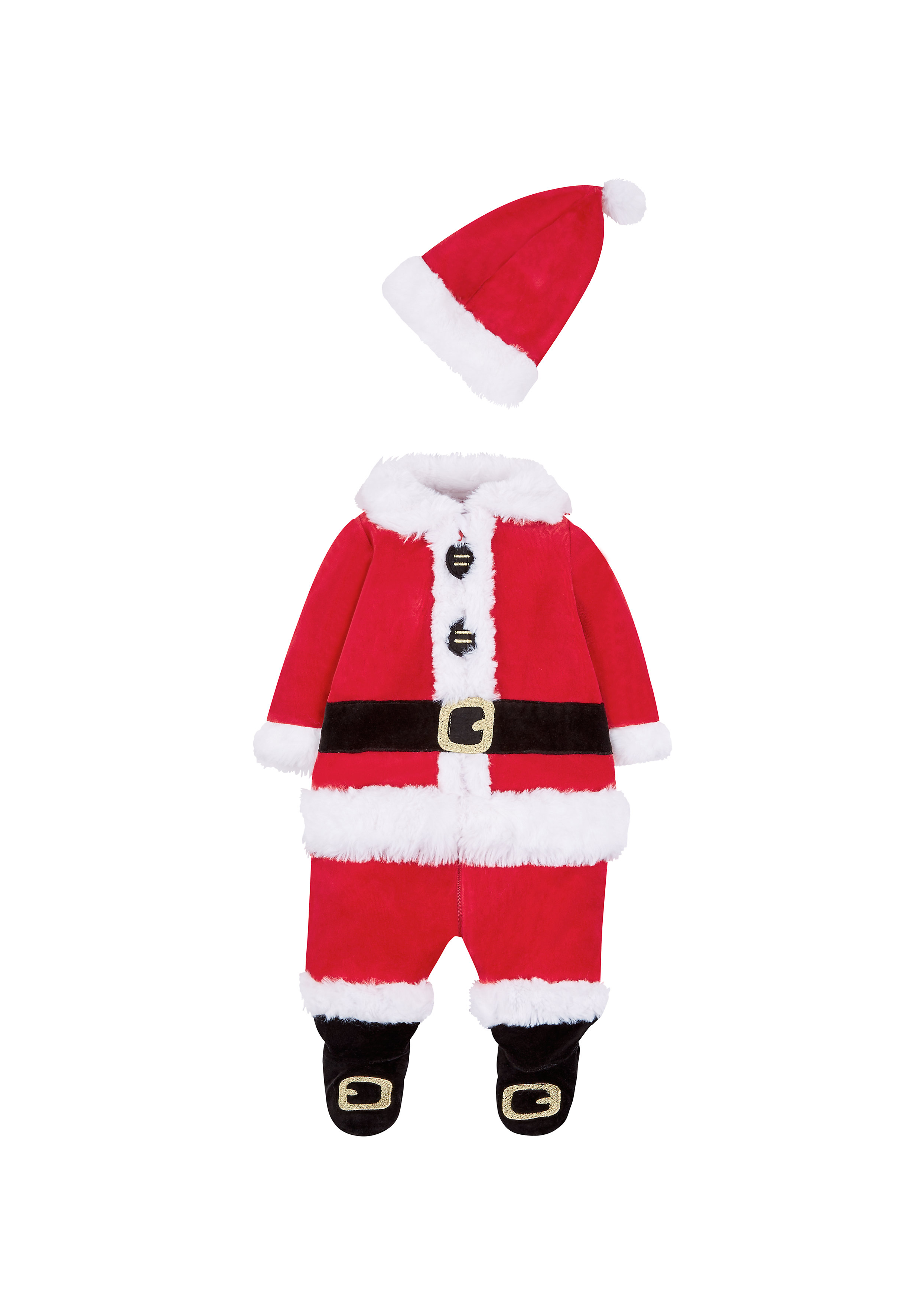 Mothercare | Unisex Full Sleeves Santa Romper With Hat - Red