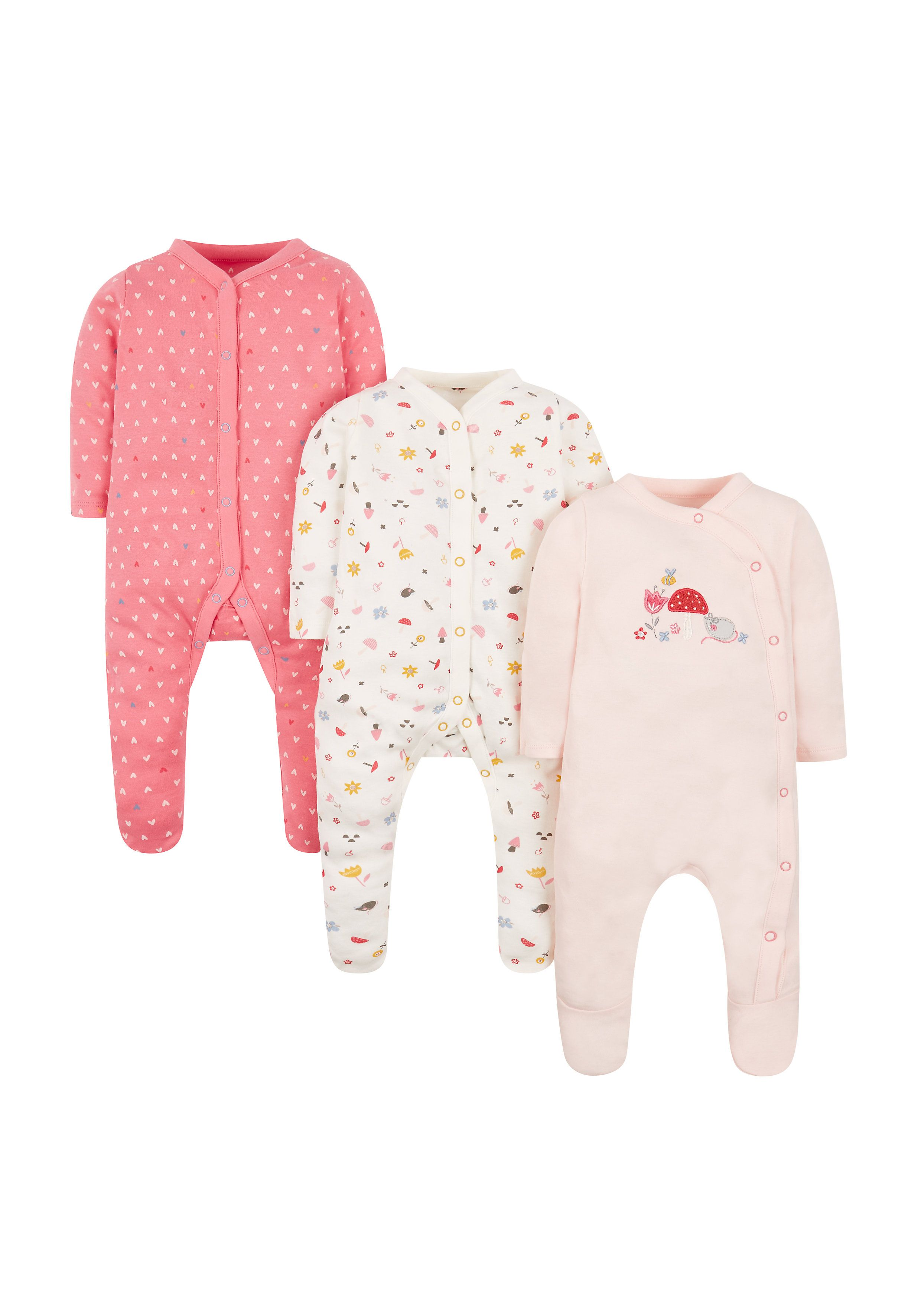Mothercare   Girls Oh So Tiny Sleepsuits -Pack Of 3 - Pink