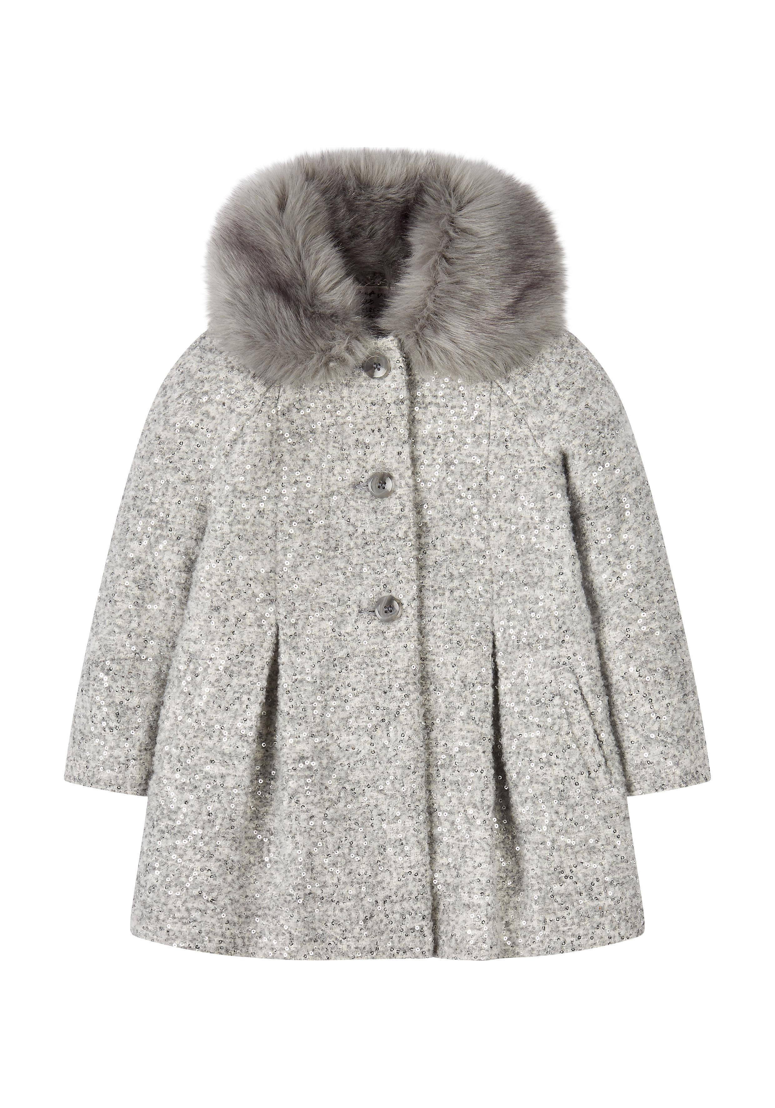 Mothercare | Girls Full Sleeves Coat Fur Collar - Grey
