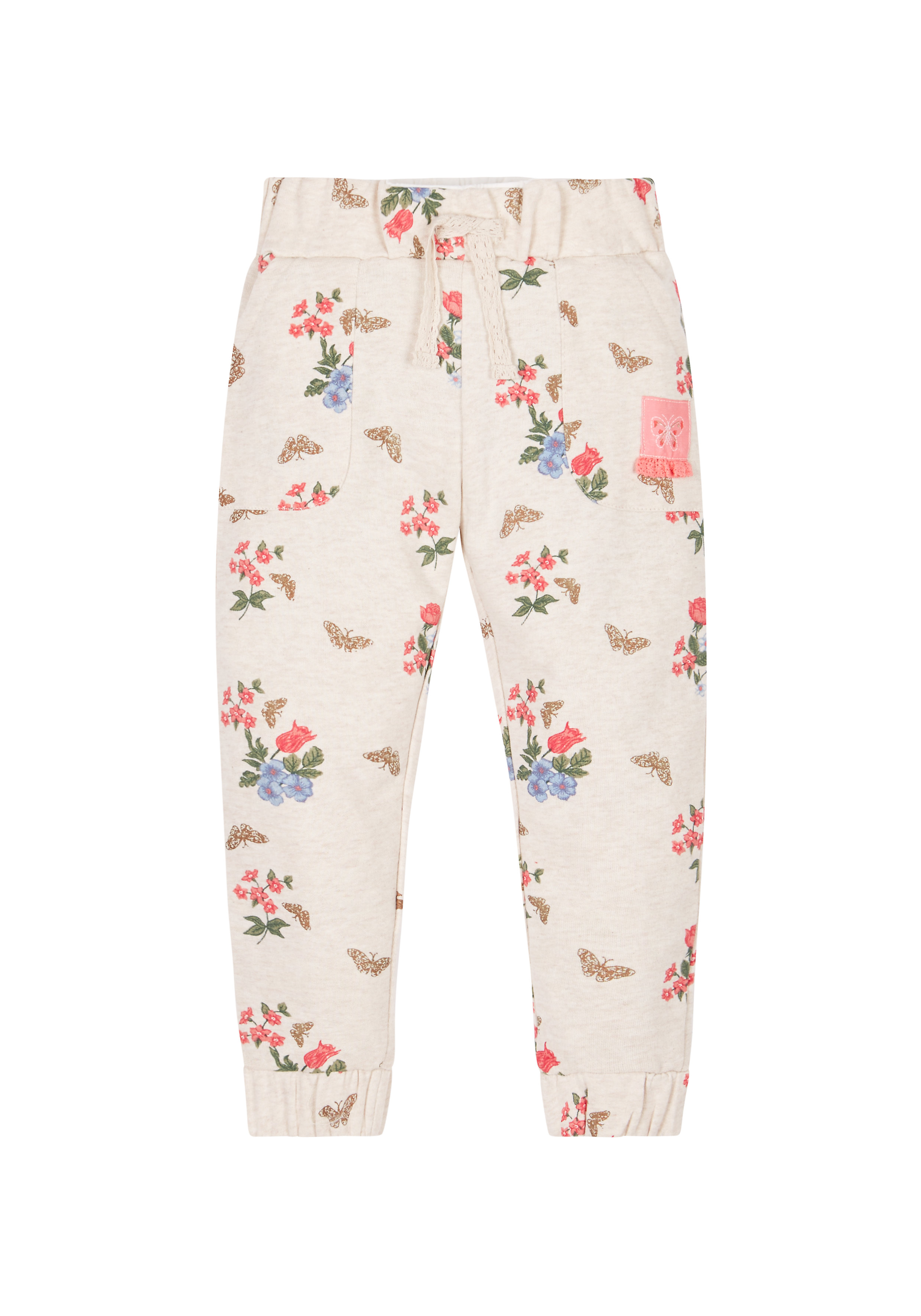 Mothercare | Girls Floral Joggers - Cream