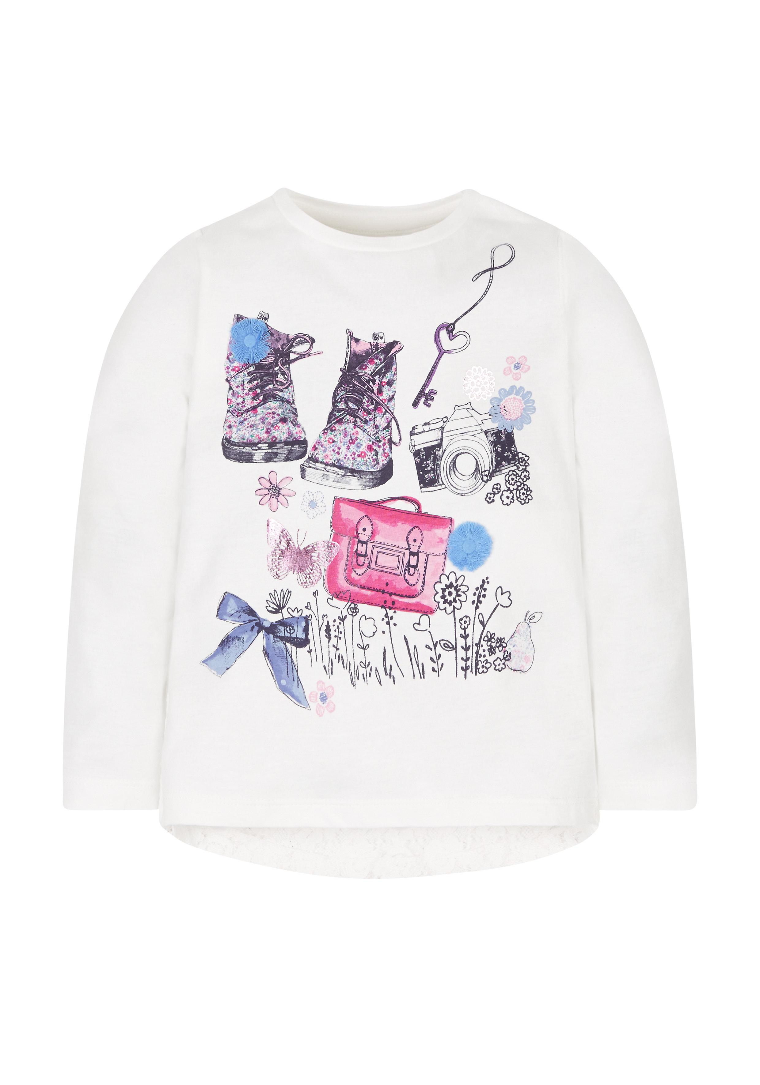 Mothercare | Girls Full Sleeves T-Shirt 3D Flower Detail - White