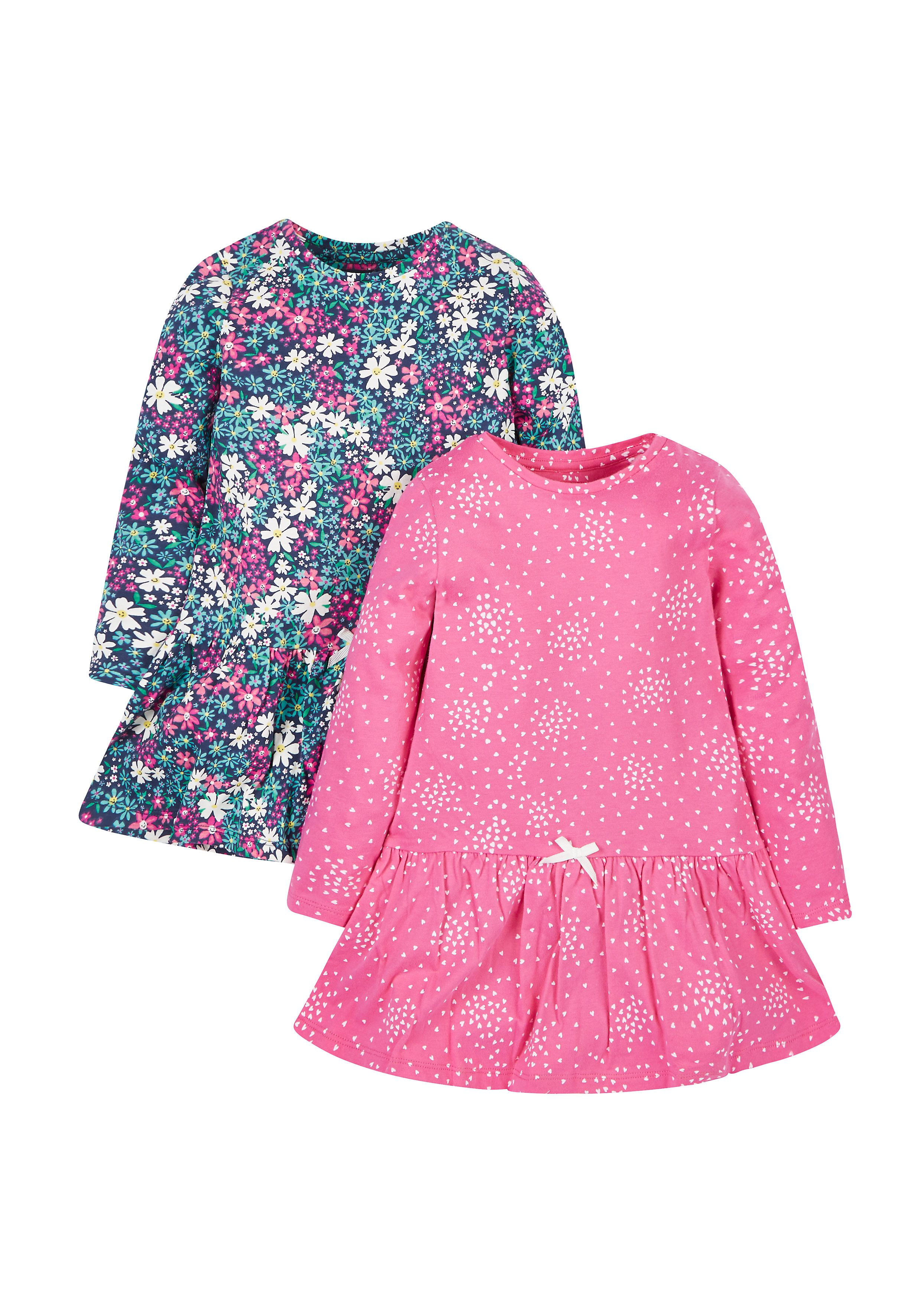 Mothercare   Floral And Heart Dresses - 2 Pack