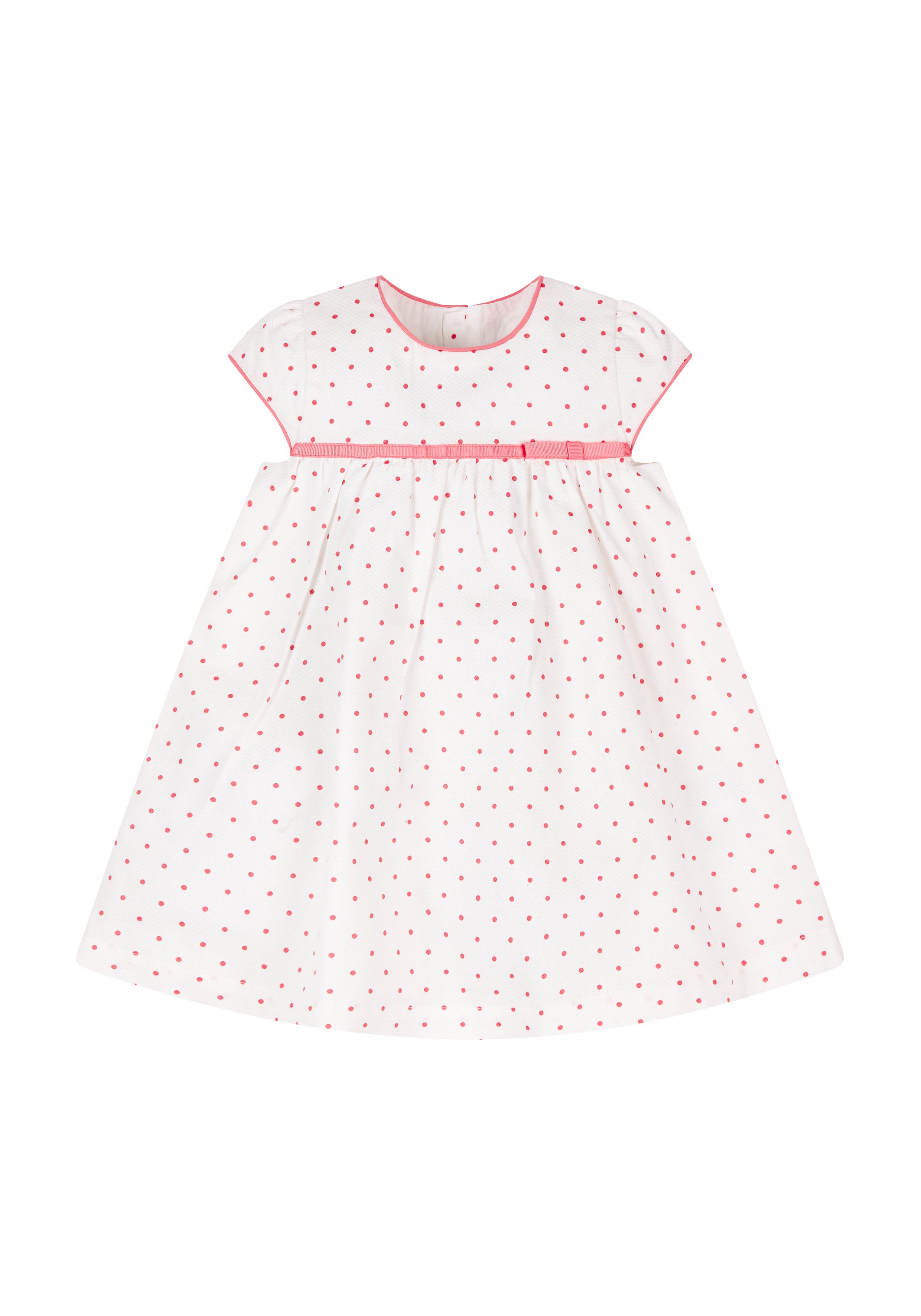 Mothercare | Girls Half Sleeves Dress Polka Dot Print - White