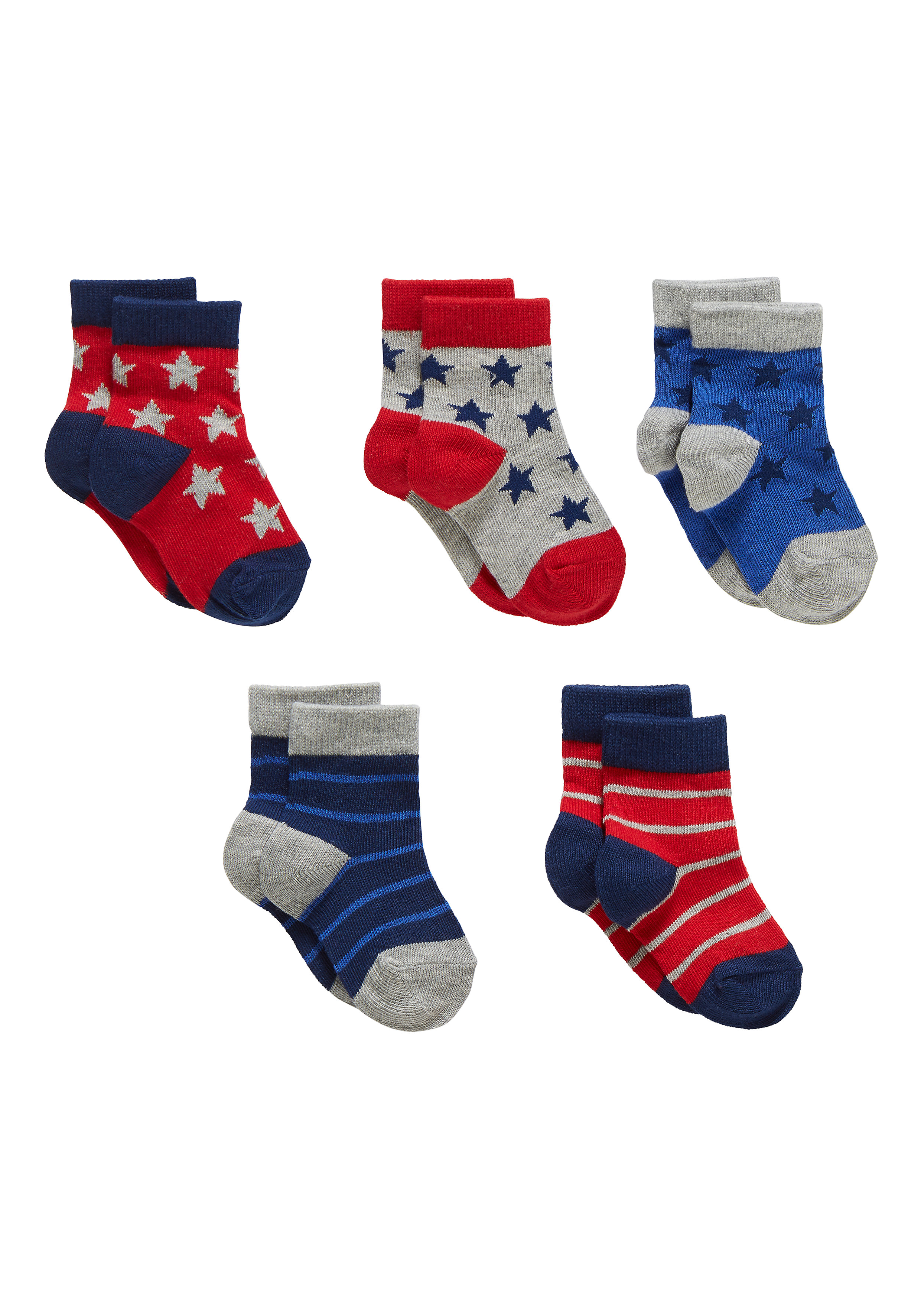 Mothercare   Boys Socks Star And Stripe Design - Pack Of 5 - Multicolor