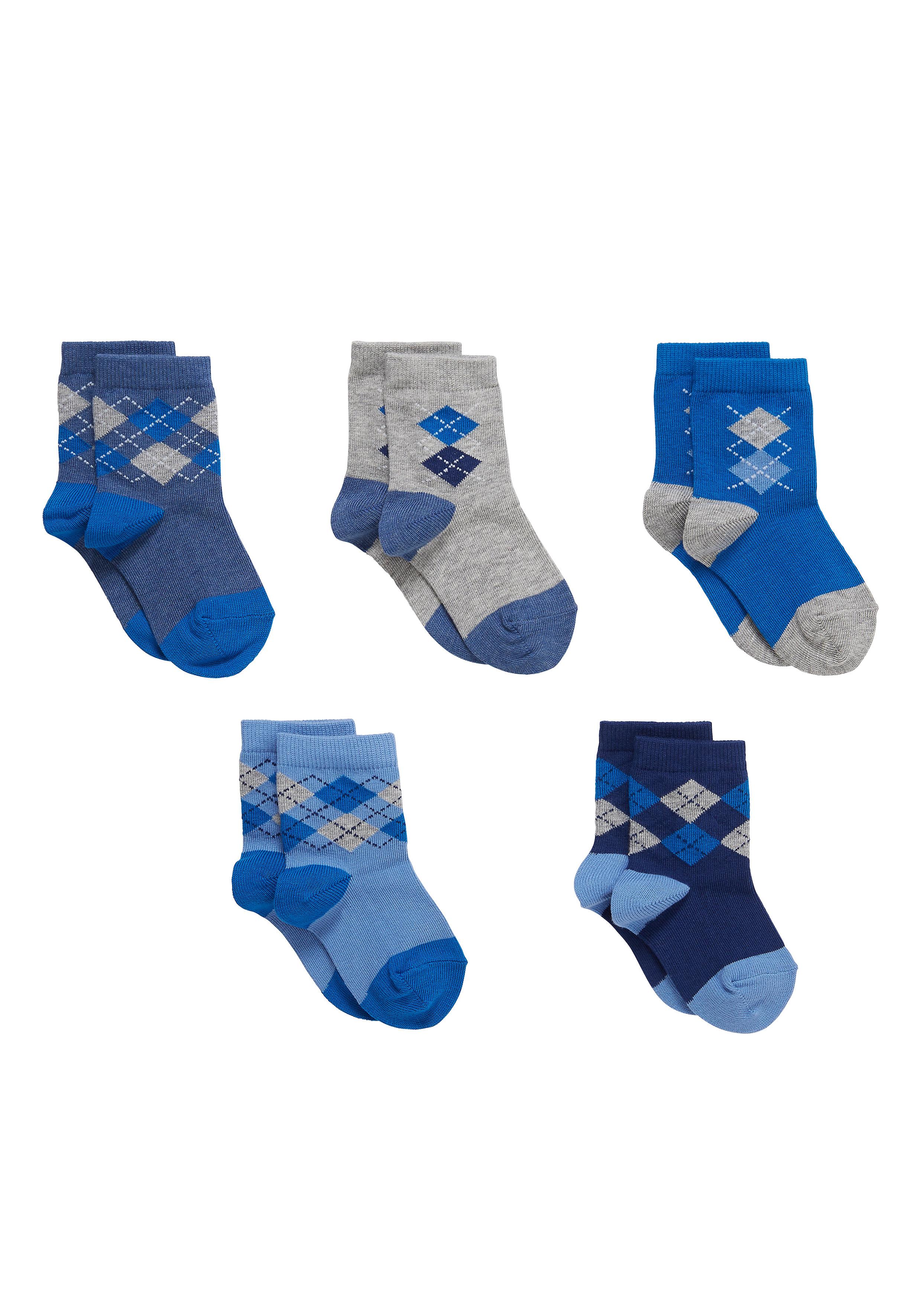 Mothercare | Boys  Socks Argyle Design - Pack Of 5 - Blue