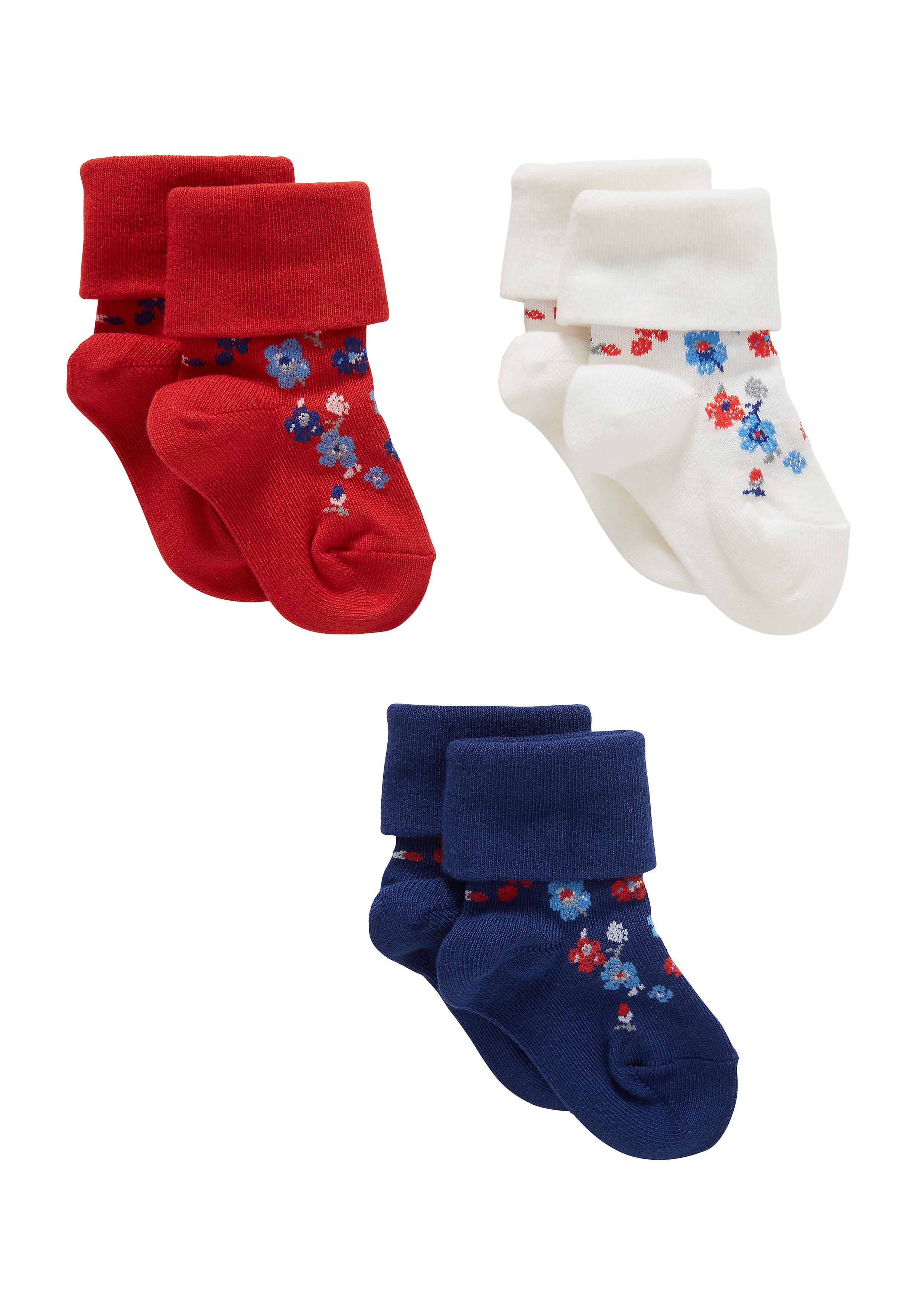 Mothercare | Girls  Socks Floral Design - Pack Of 3 - Multicolor
