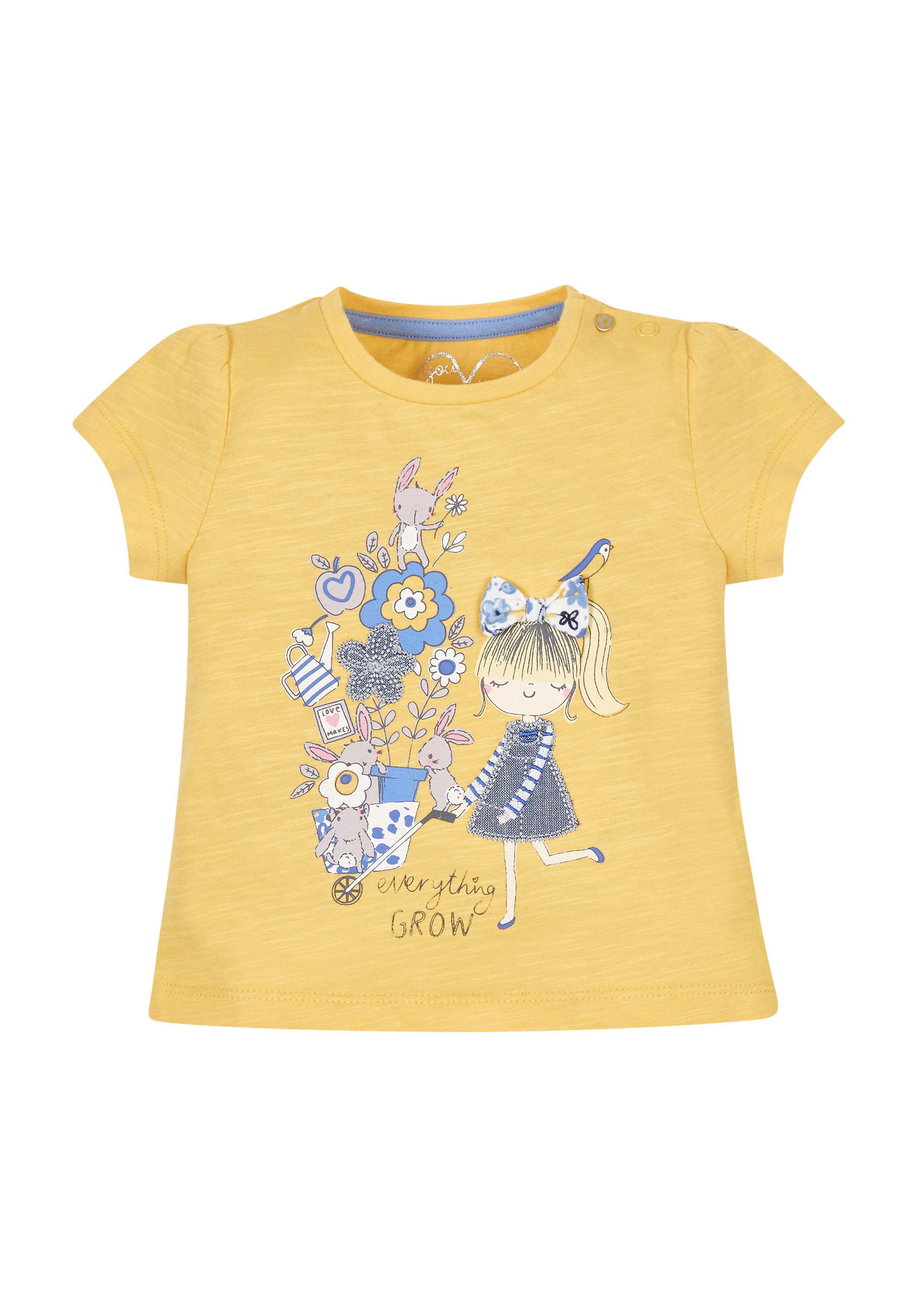 Mothercare   Girls Flower T-Shirt - Yellow