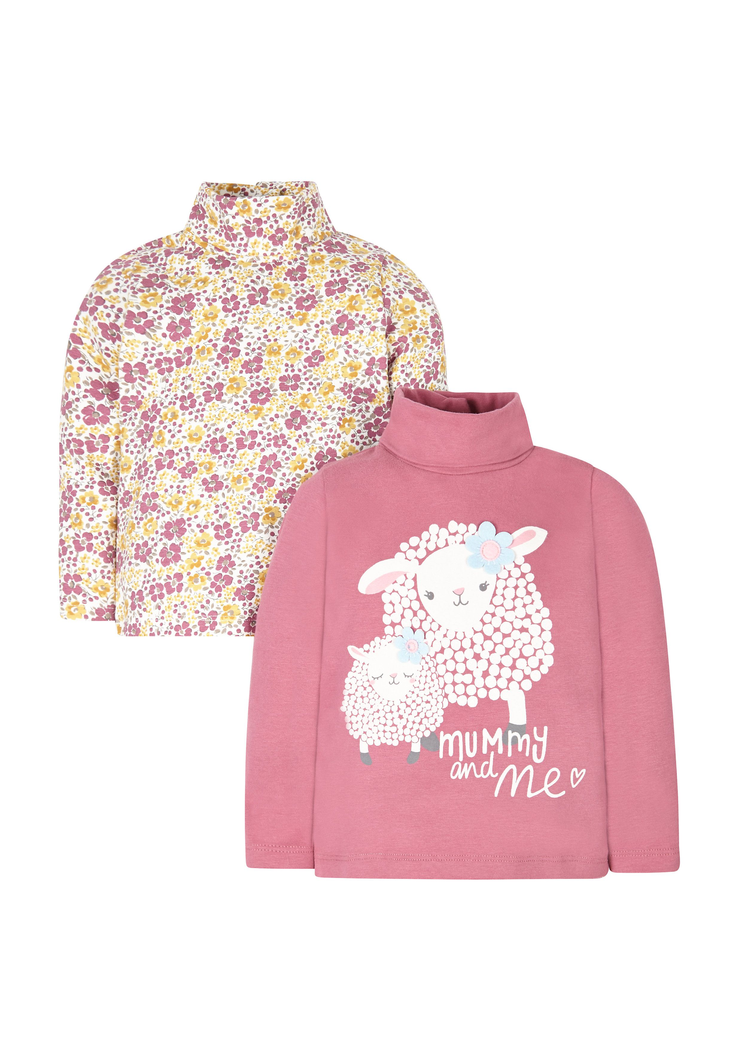 Mothercare   Pink And Floral Roll Neck Tops - 2 Pack