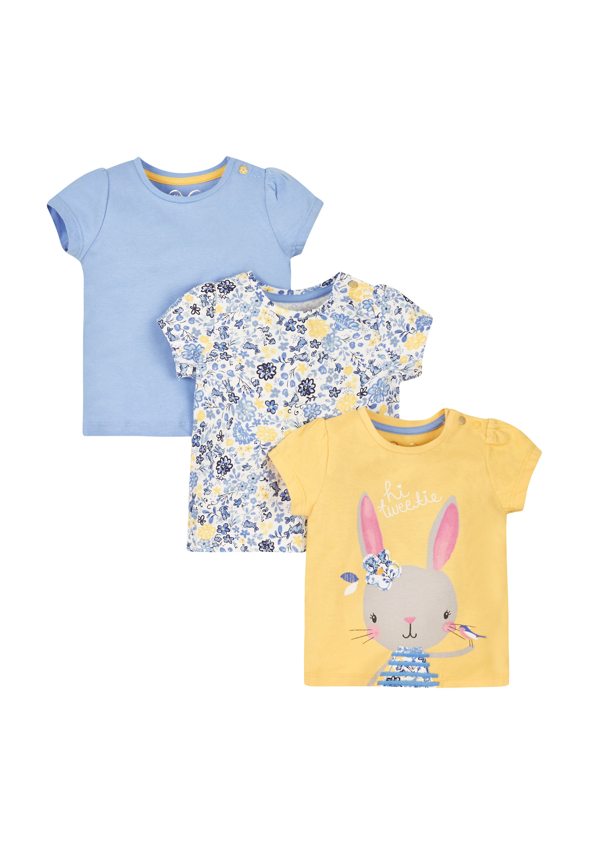 Mothercare | Bunny And Floral T-Shirts - 3 Pack