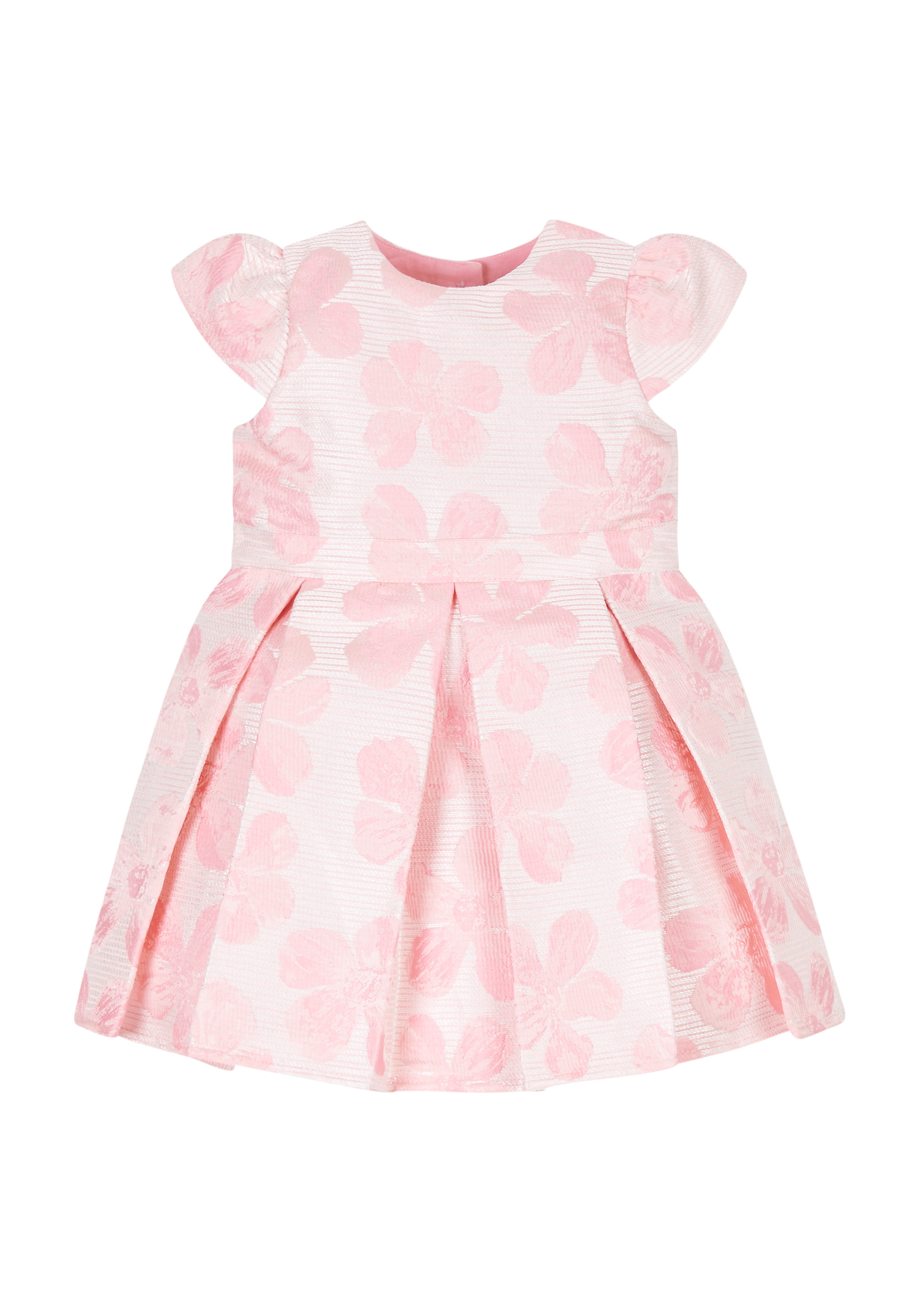 Mothercare   Girls Half Sleeves Party Dress Textured Flower Design - Pink