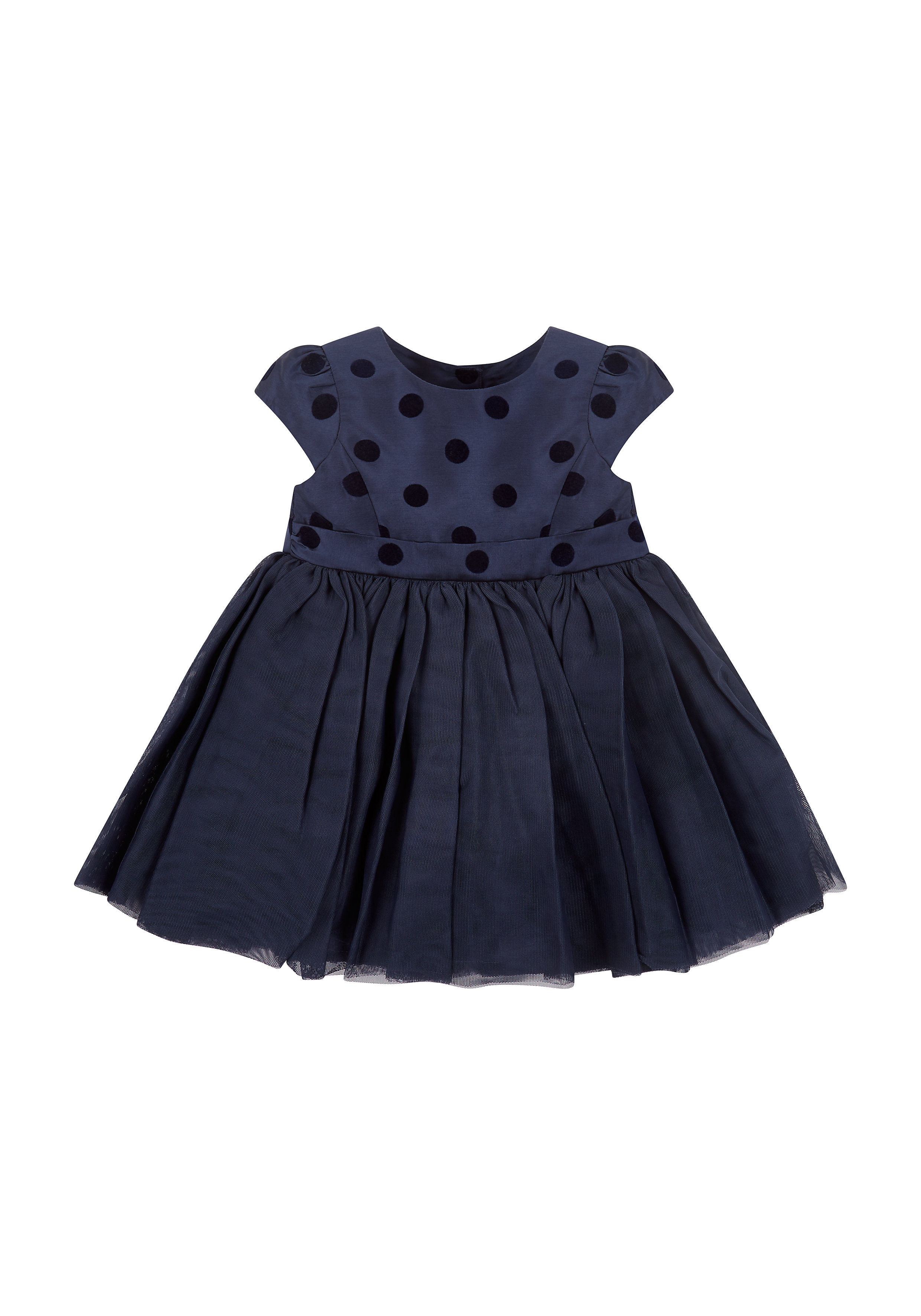 Mothercare | Girls Half Sleeves Party Dress Bow Detail - Blue