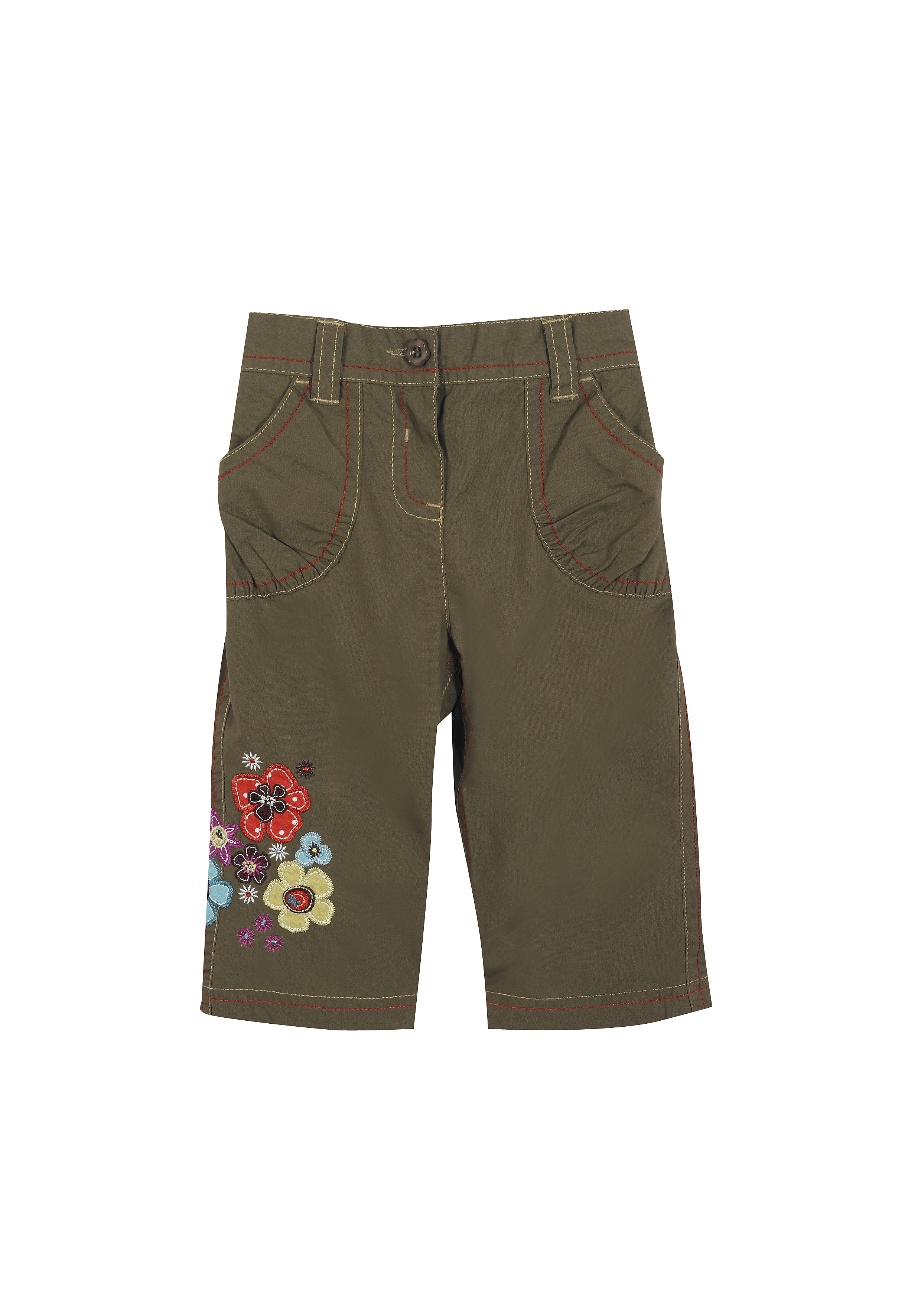 Mothercare   Girls Trousers Flower Patchwork - Khaki