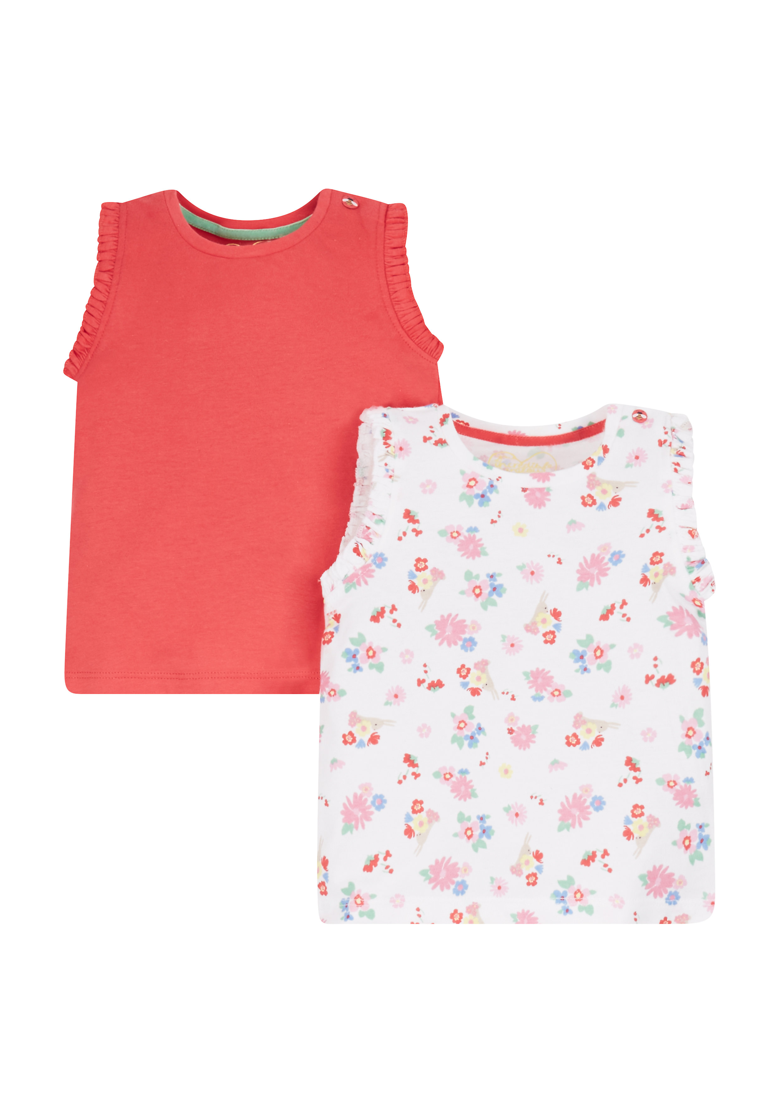 Mothercare   Girls Frilly Vests - 2 Pack - Red