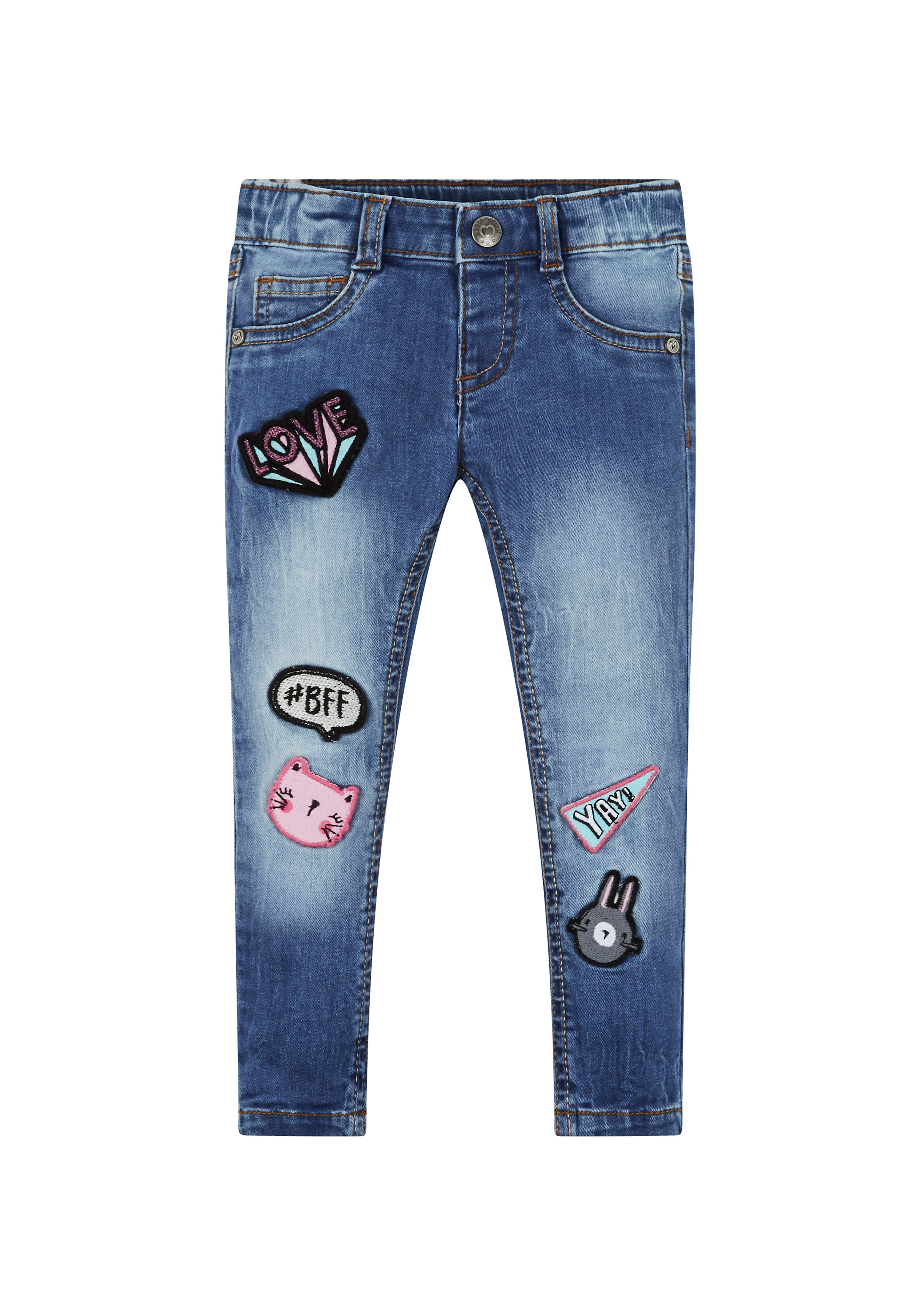 Mothercare | Girls Jeans Badge Detail - Blue