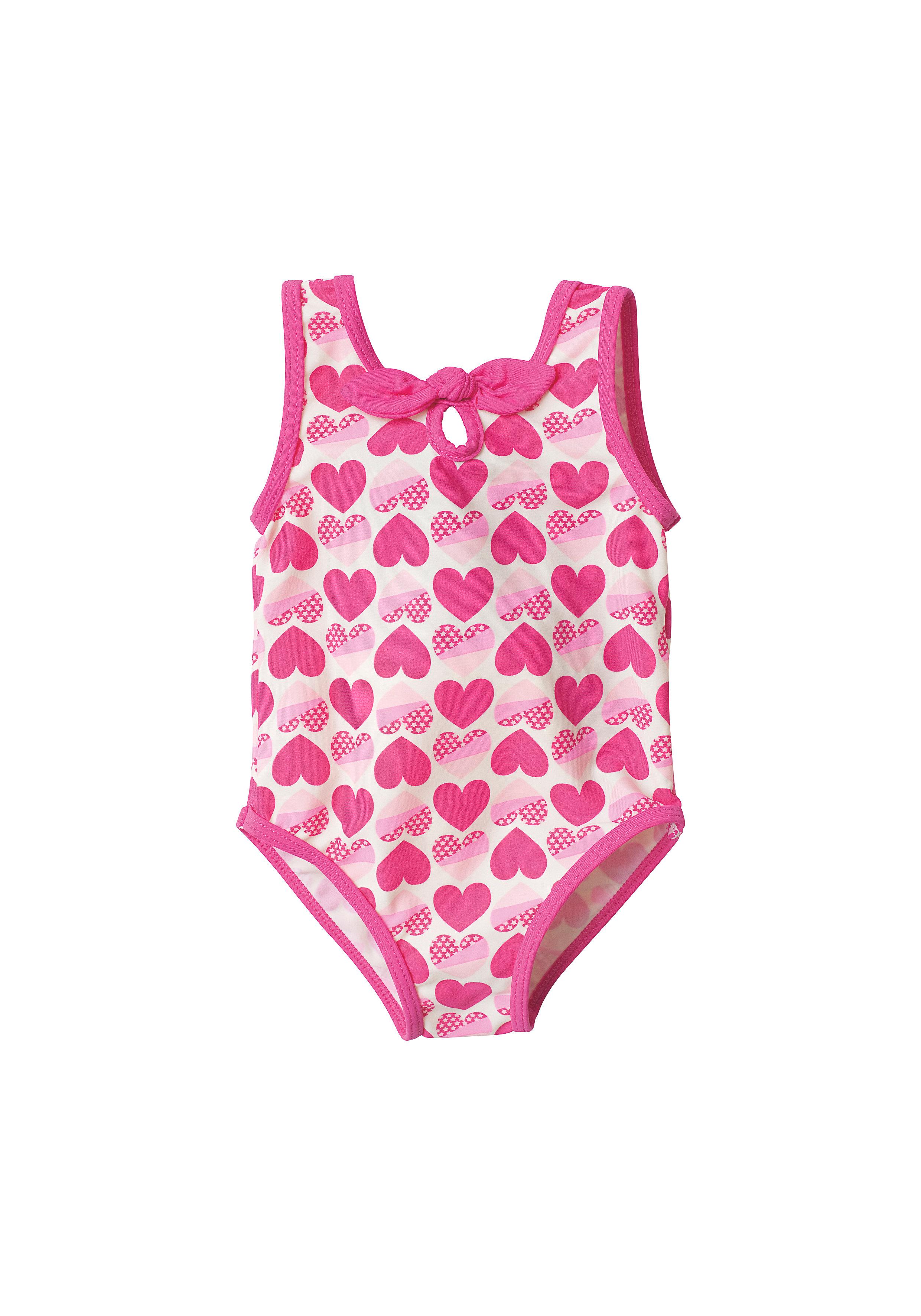 Mothercare | Girls Sleeveless Swimsuit Heart Print - Pink