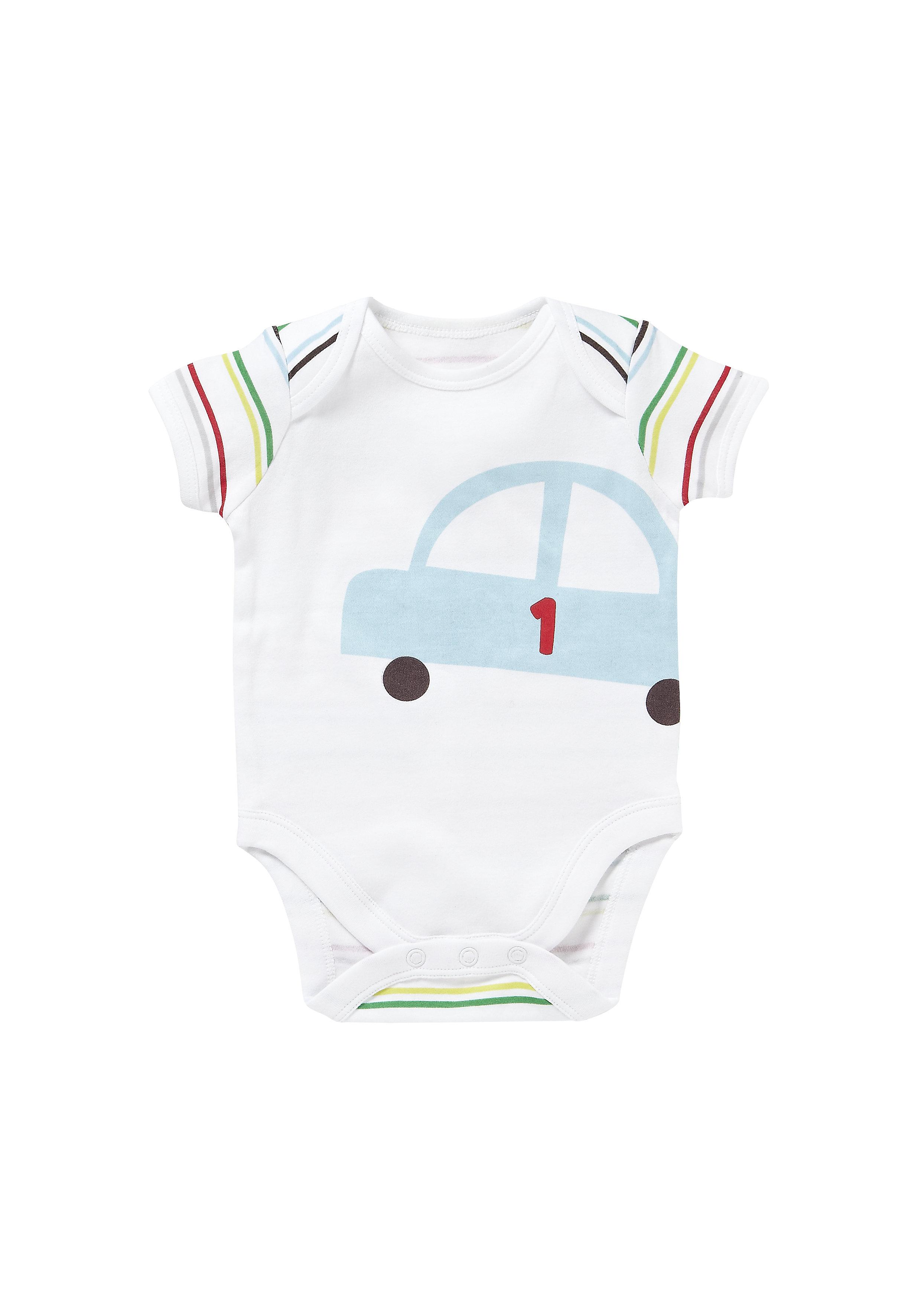 Mothercare | Boys Half Sleeves Bodysuit Car Print - White