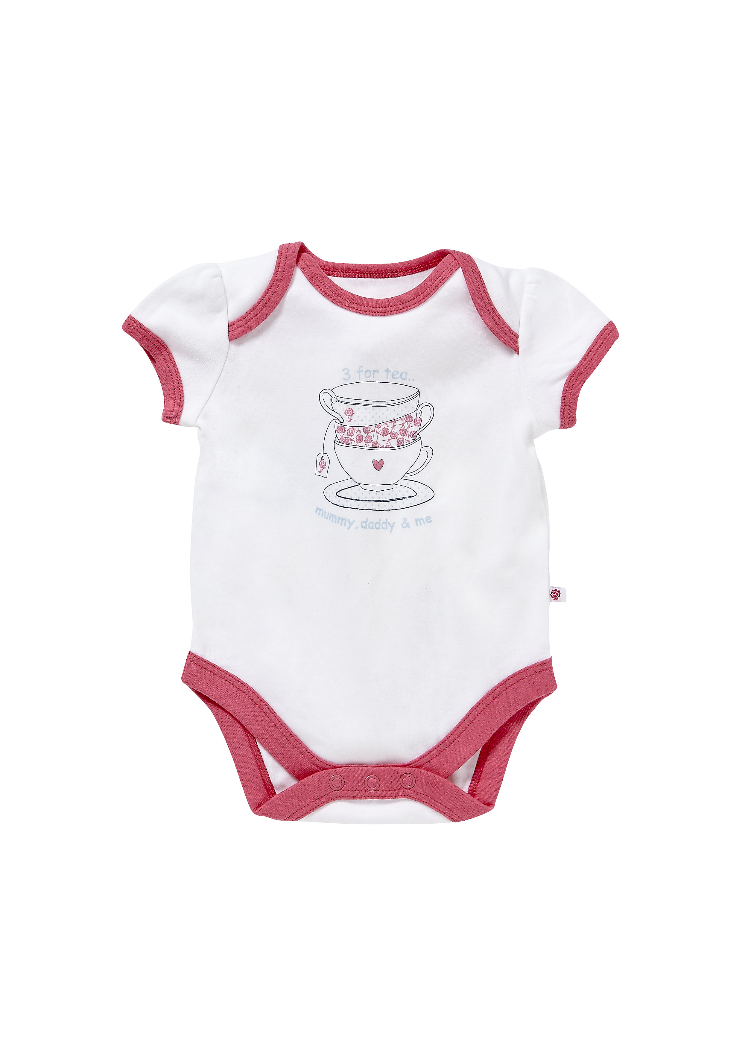 Mothercare | Girls Half Sleeves Bodysuit Cup Print - White