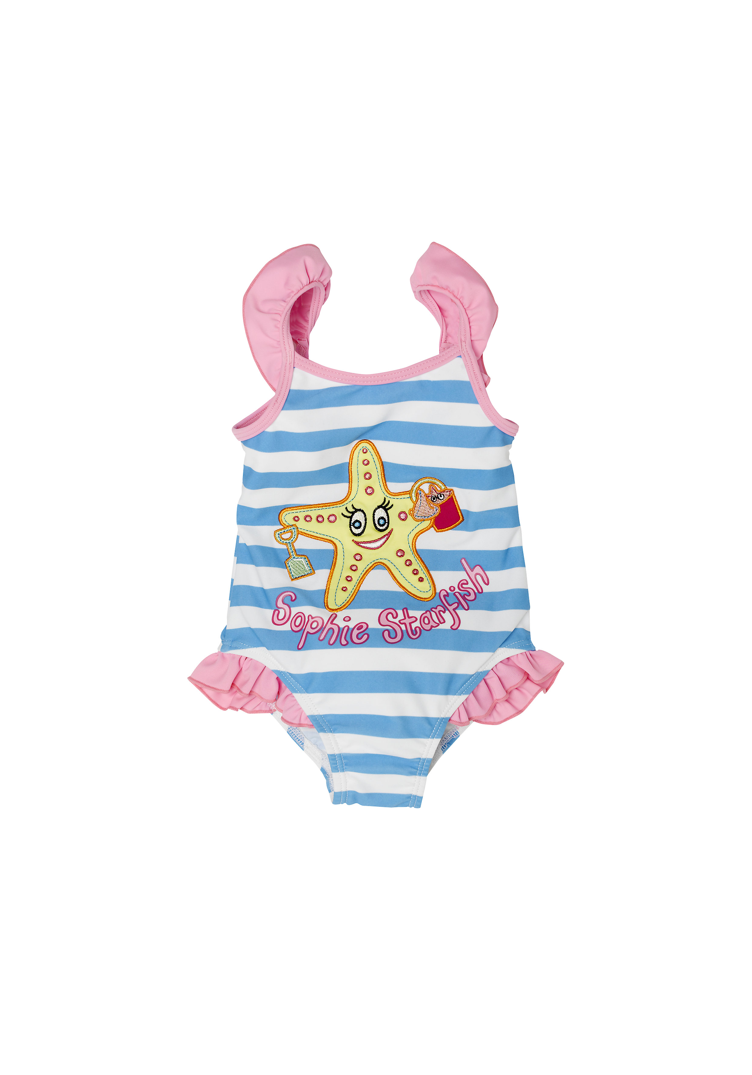 Mothercare | Girls Sleeveless Swimsuit Star Fish Print - Blue