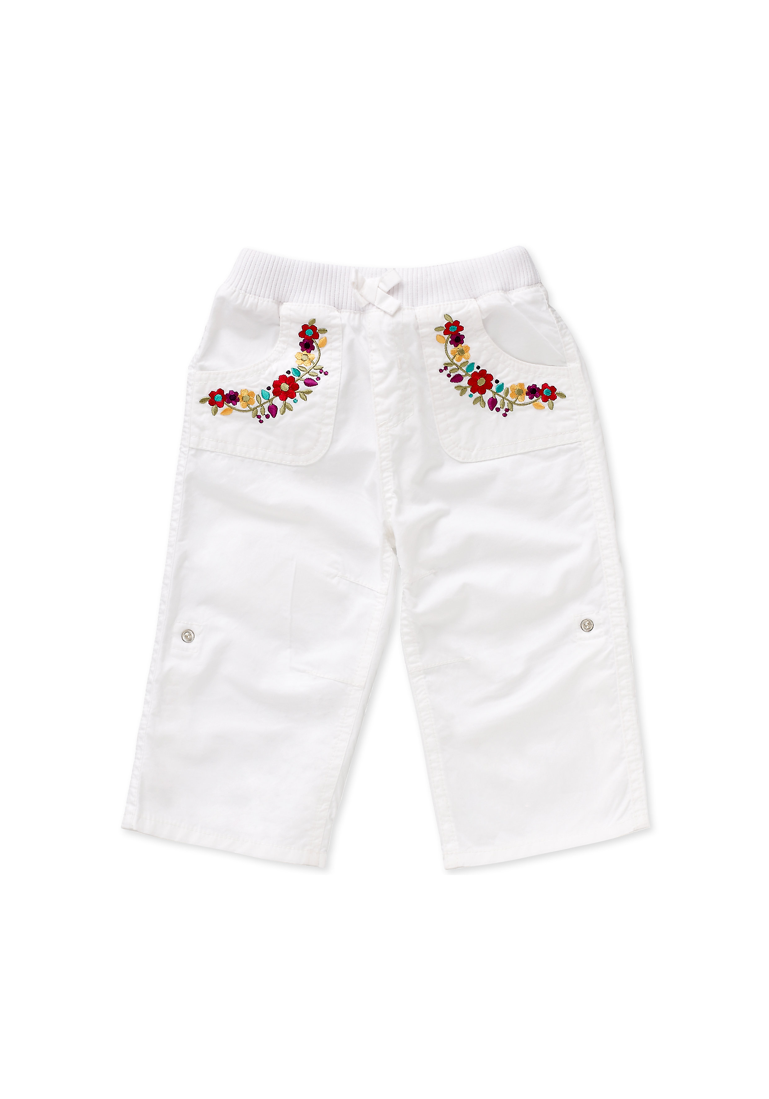 Mothercare   Girls Trousers Floral Embroidery - White
