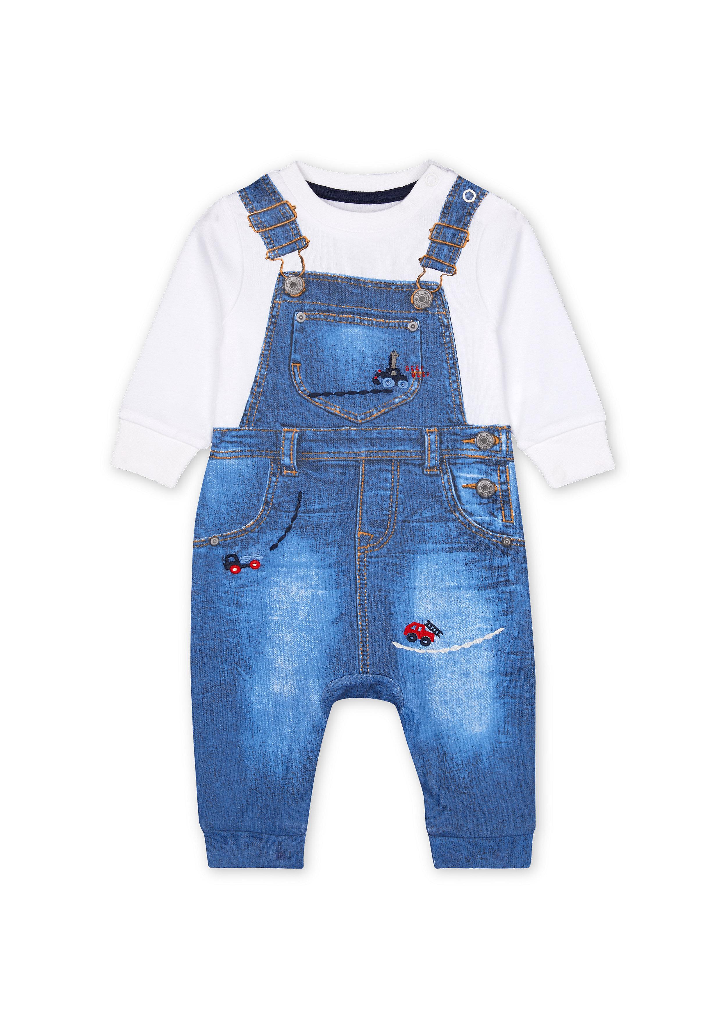 Mothercare   Boys Full sleeves Mock dungaree Romper - Blue
