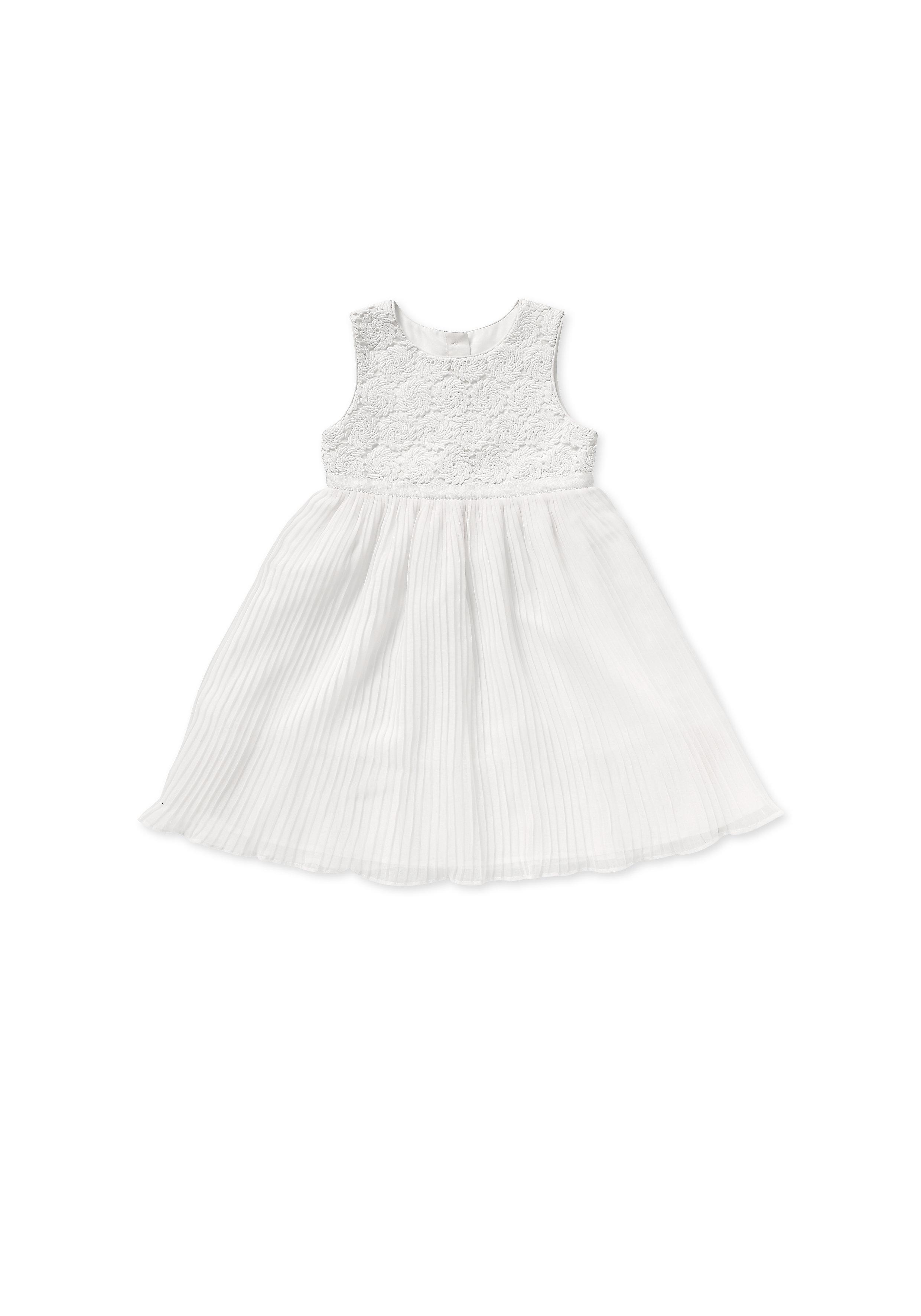 Mothercare | Girls Sleeveless Dress Embroidered - White