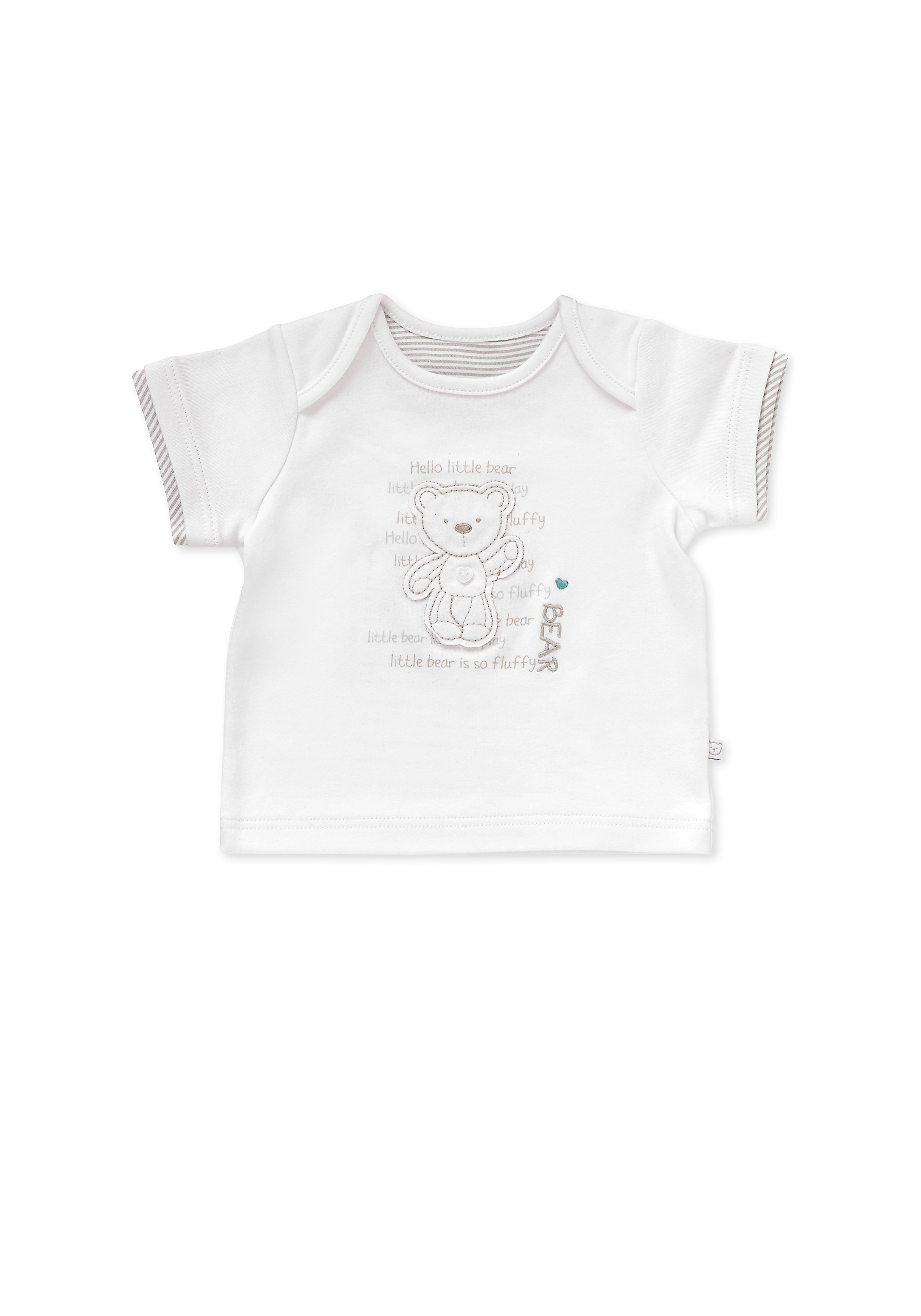 Mothercare | Unisex Half Sleeves T-Shirt Bear Patchwork - White