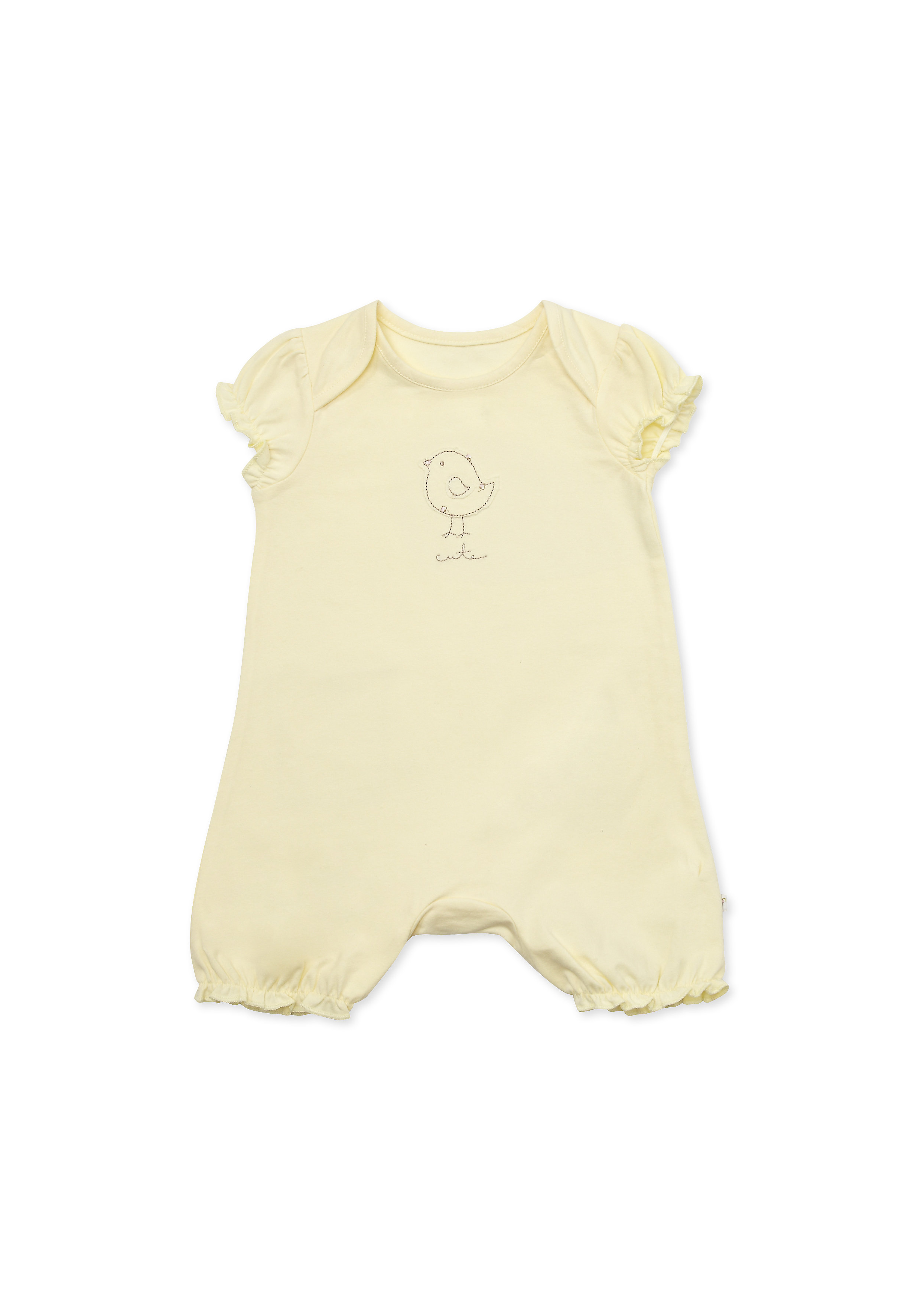 Mothercare | Girls Half Sleeves Romper Bird Embroidery - Yellow