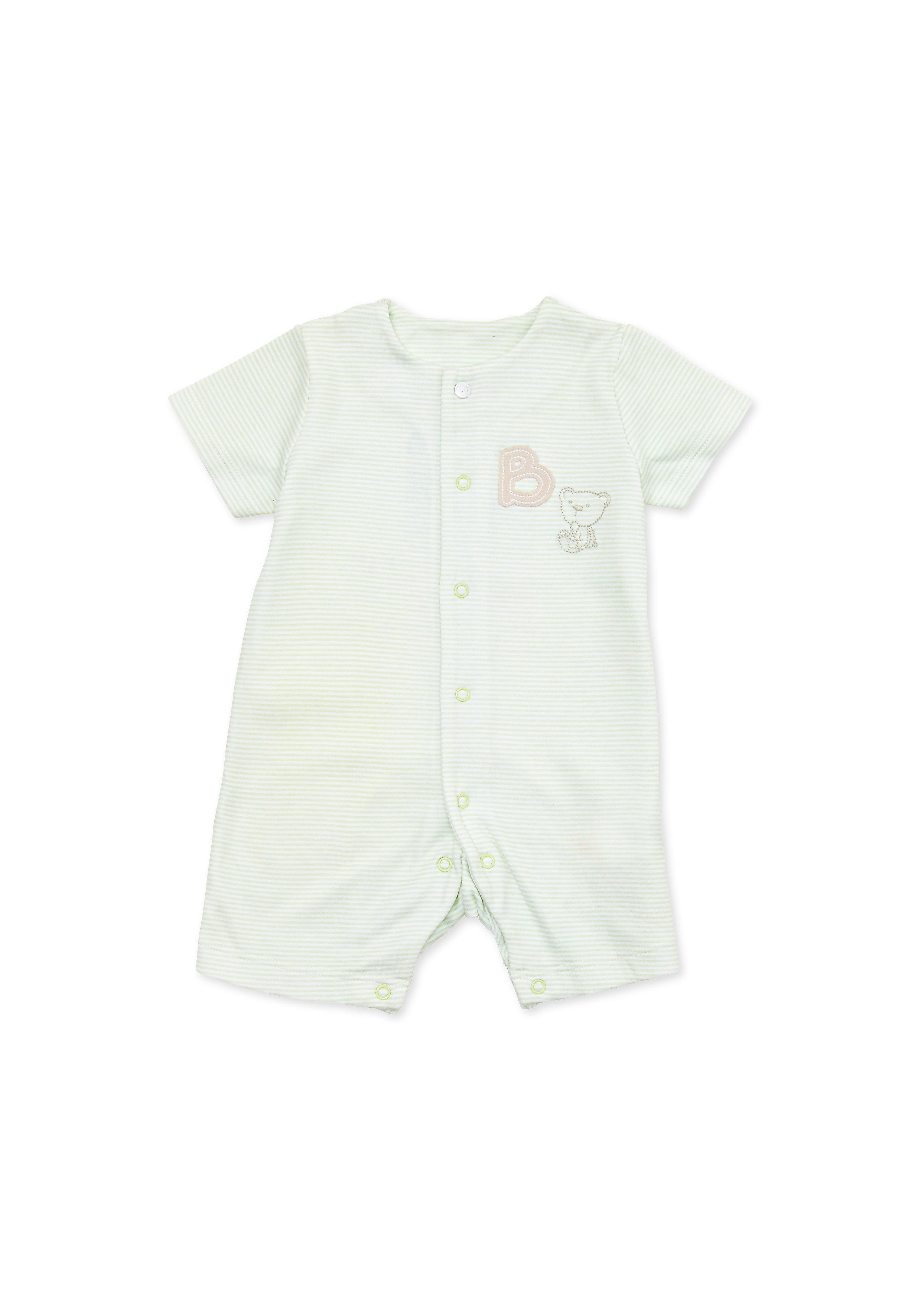 Mothercare   Boys Half Sleeves Romper Bear Embroidery - Grey