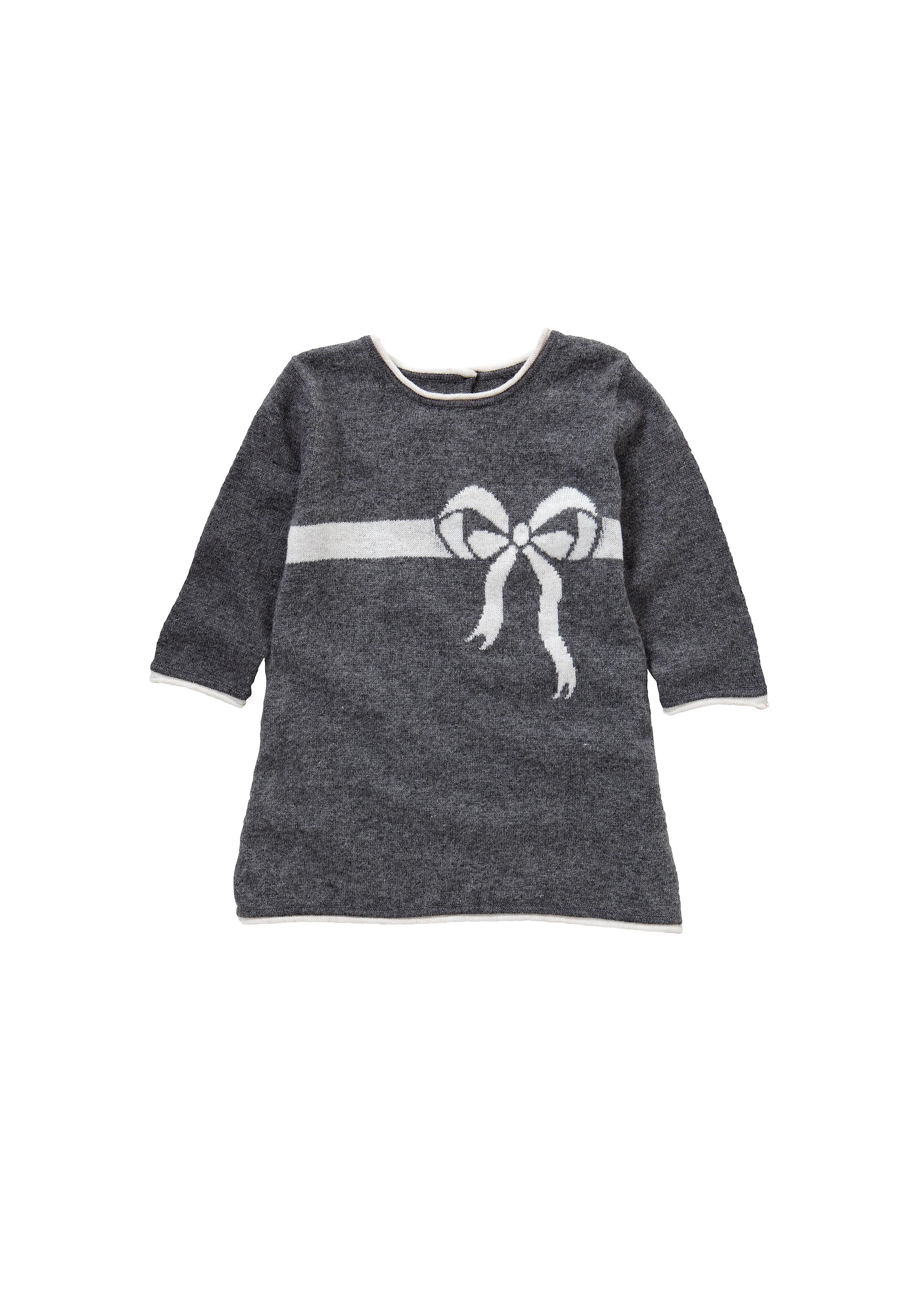 Mothercare | Girls Bow Intarsia Dress - Grey