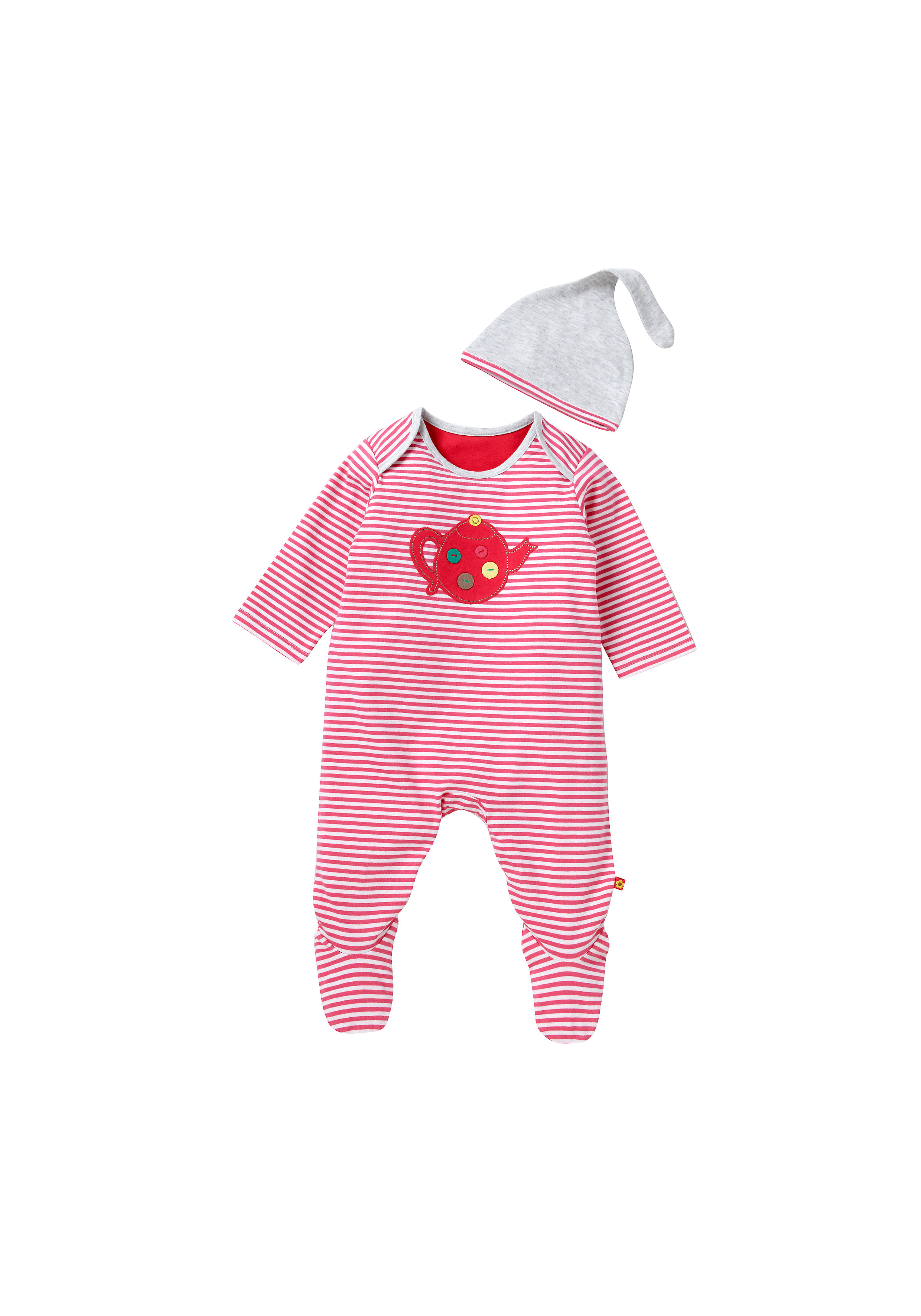 Mothercare   Girls Stripe Teapot All In One And Hat
