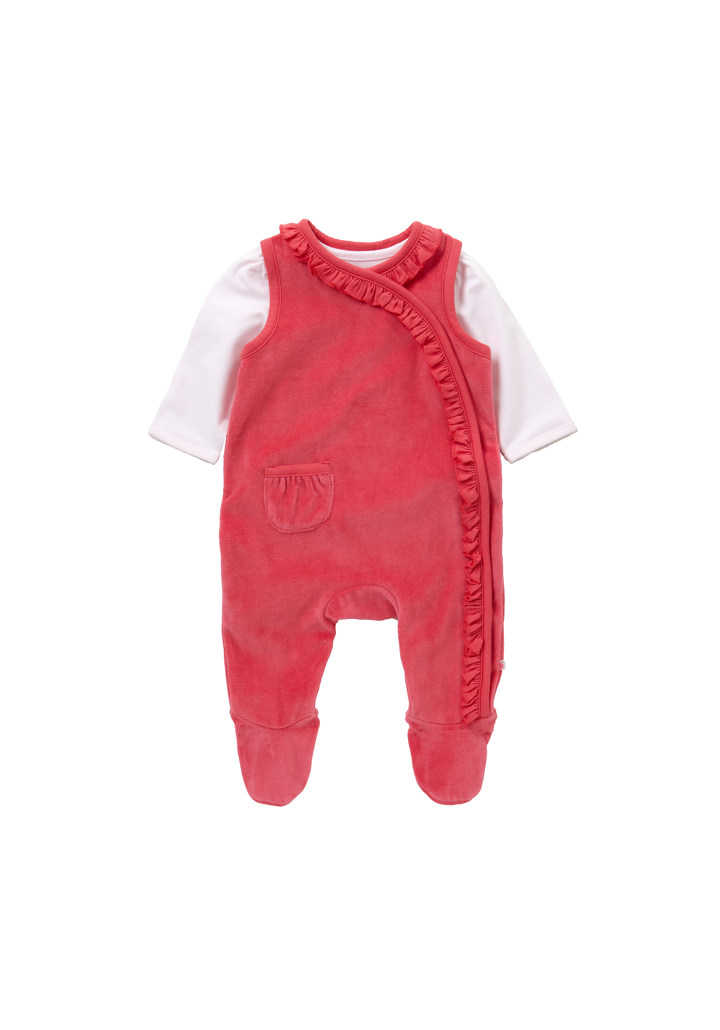 Mothercare | Girls Full Sleeves Dungaree Set Frill Detail - Red