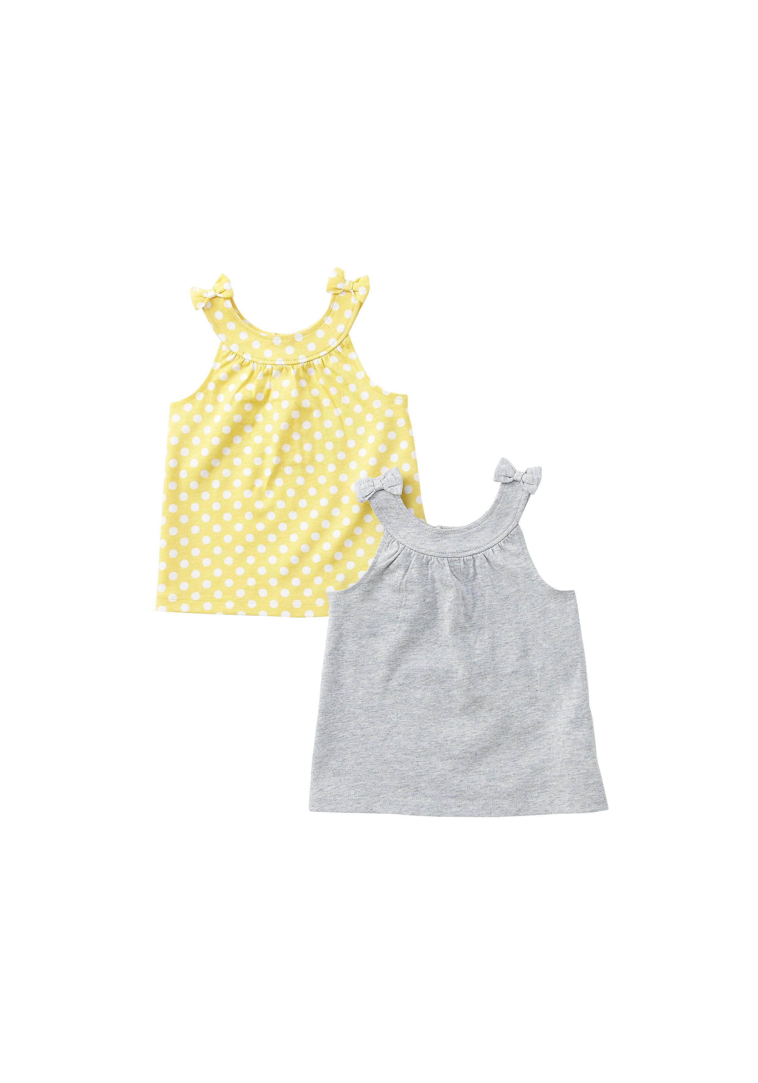 Mothercare | Girls Sleeveless Tops Polka Dot Print - Pack Of 2 - Multicolor