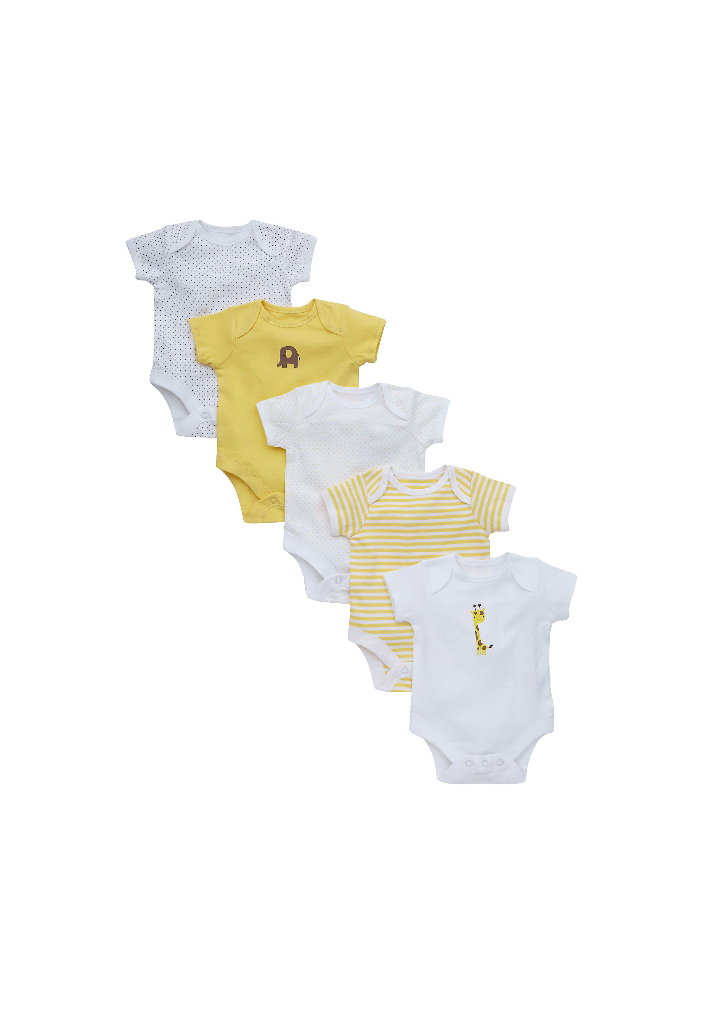 Mothercare | Unisex Half Sleeves Bodysuit Printed And Striped - Pack Of 5 - Yellow