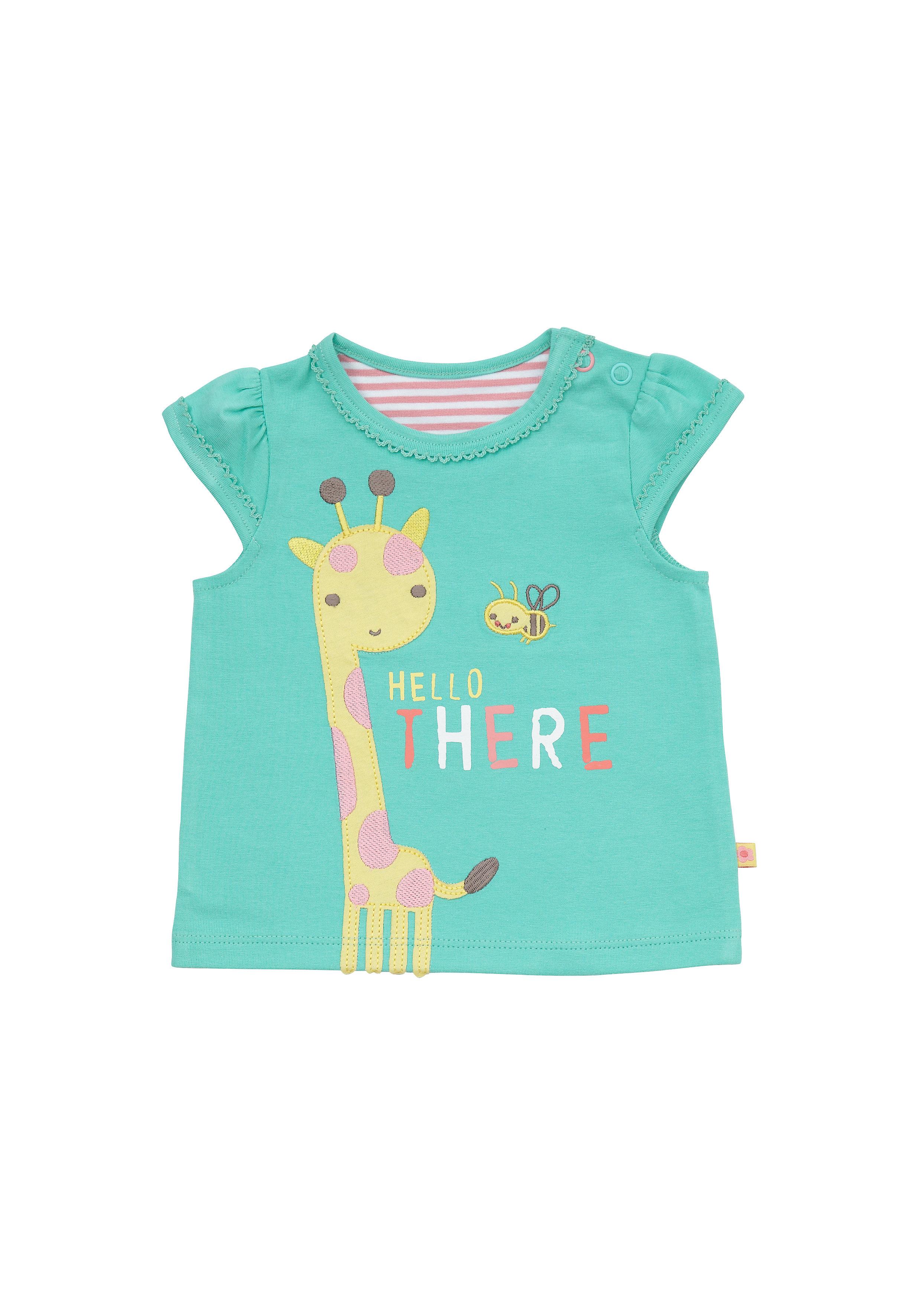 Mothercare | Girls Half Sleeves T-Shirt Giraffe Patchwork - Green