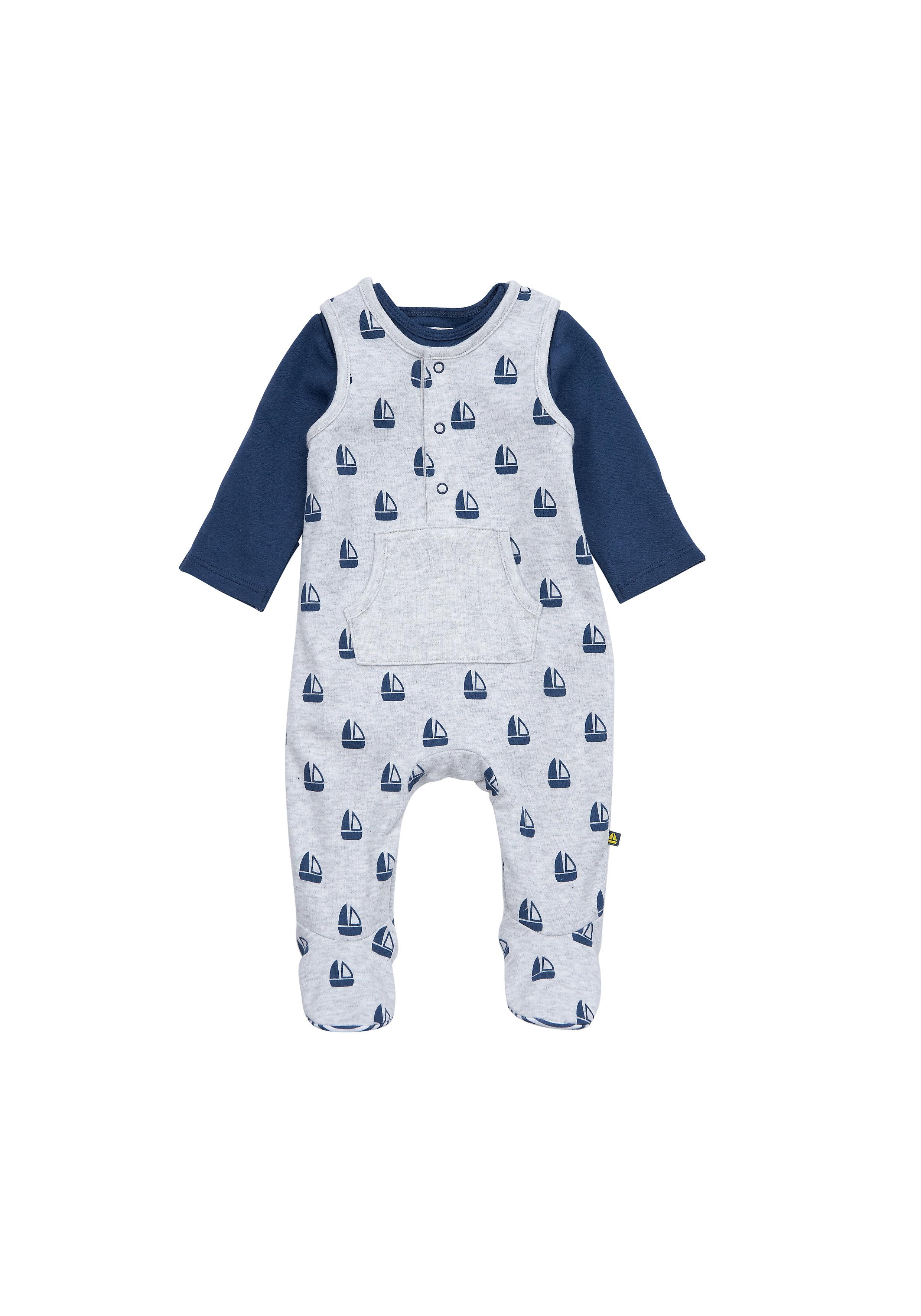 Mothercare | Boys Full Sleeves Dungaree Set Boat Print - Grey