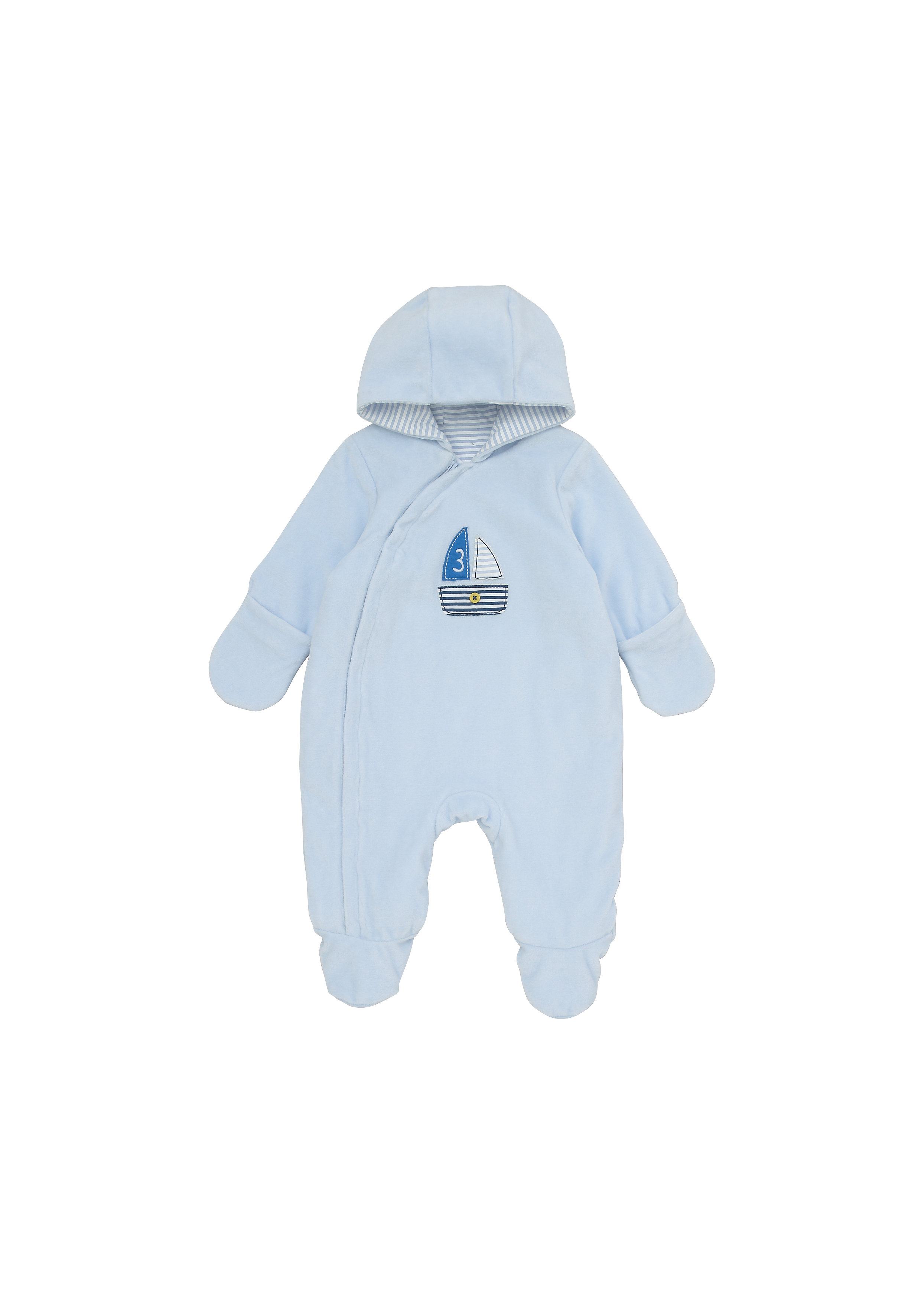 Mothercare   Boys Full Sleeves Velour Snowsuit Boat Patchwork - Blue